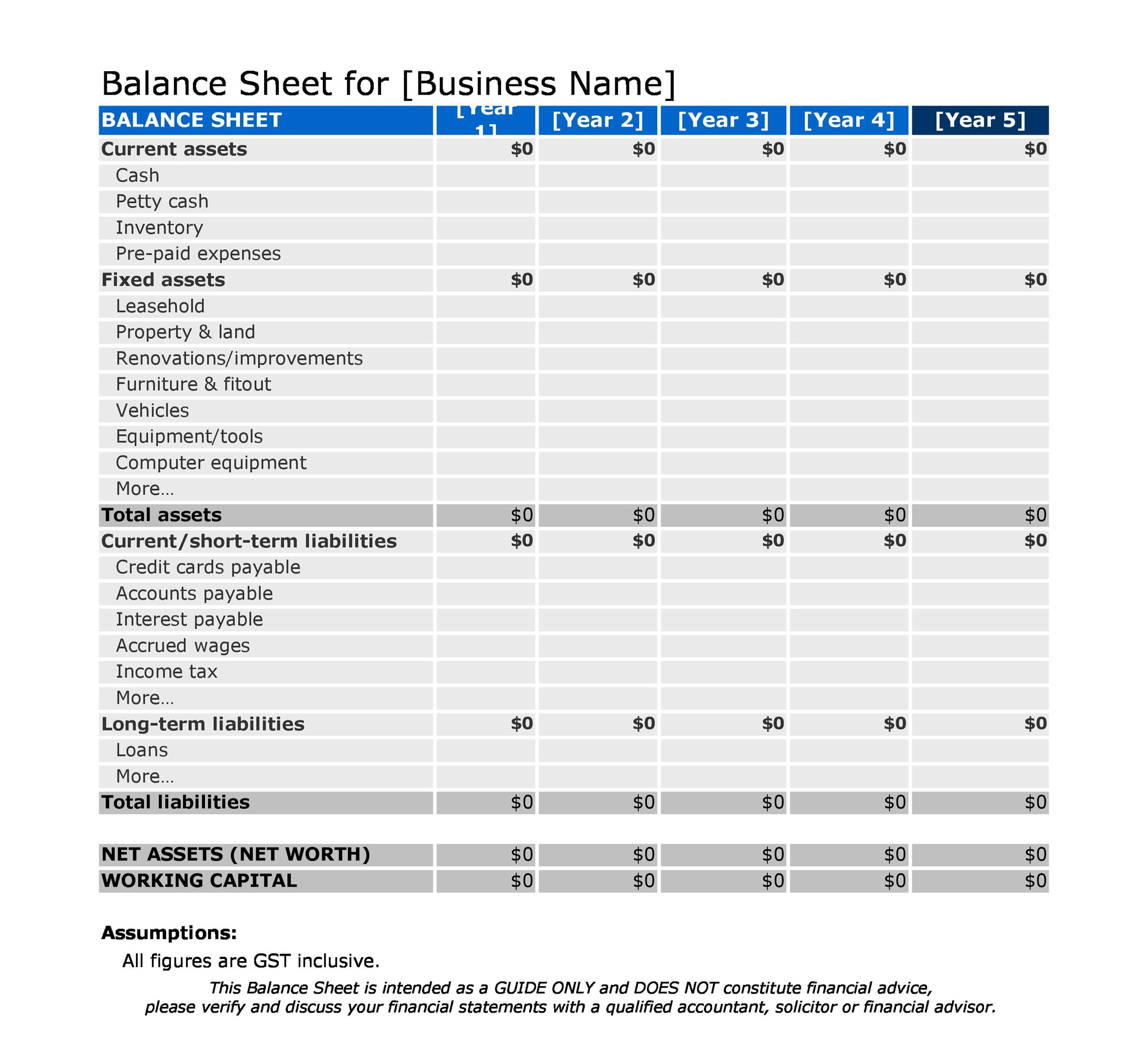 Free Personal Balance Sheet Template 28 Images Simple And Blank
