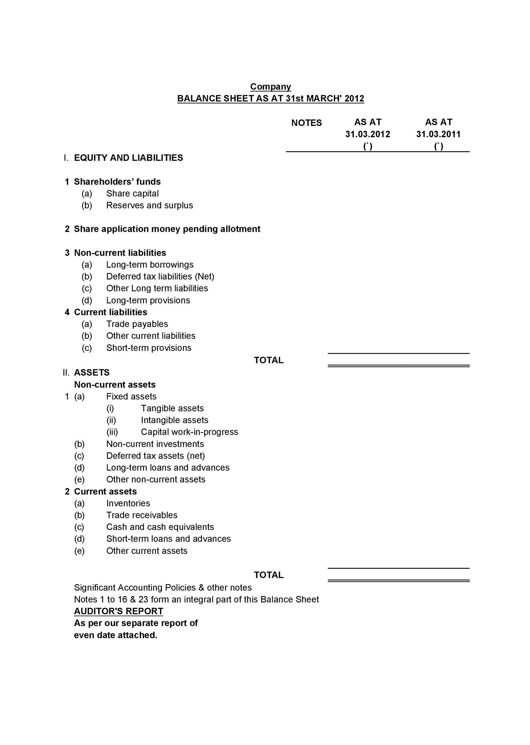 Free Balance Sheet Template 24