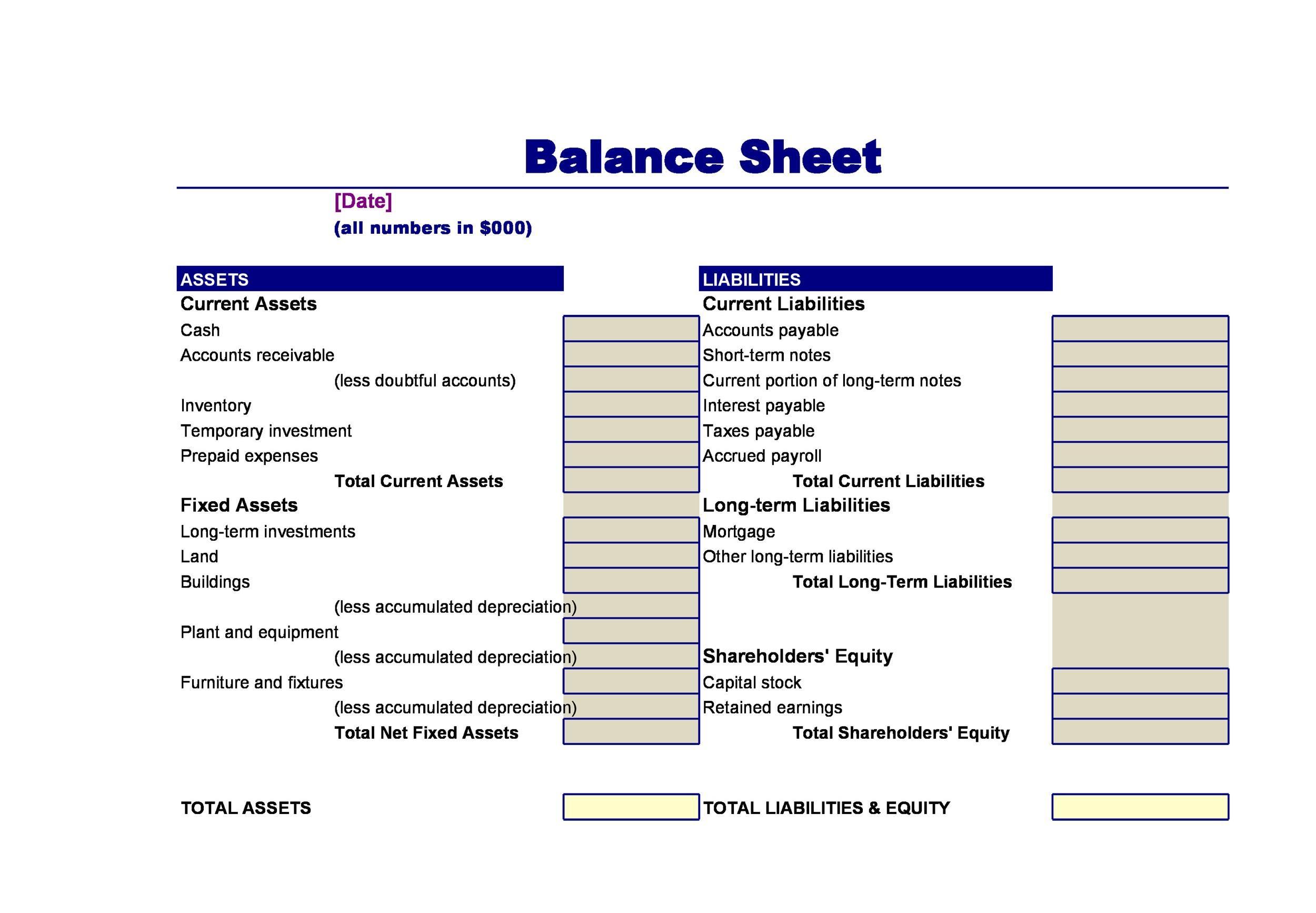 Free Balance Sheet Template 27