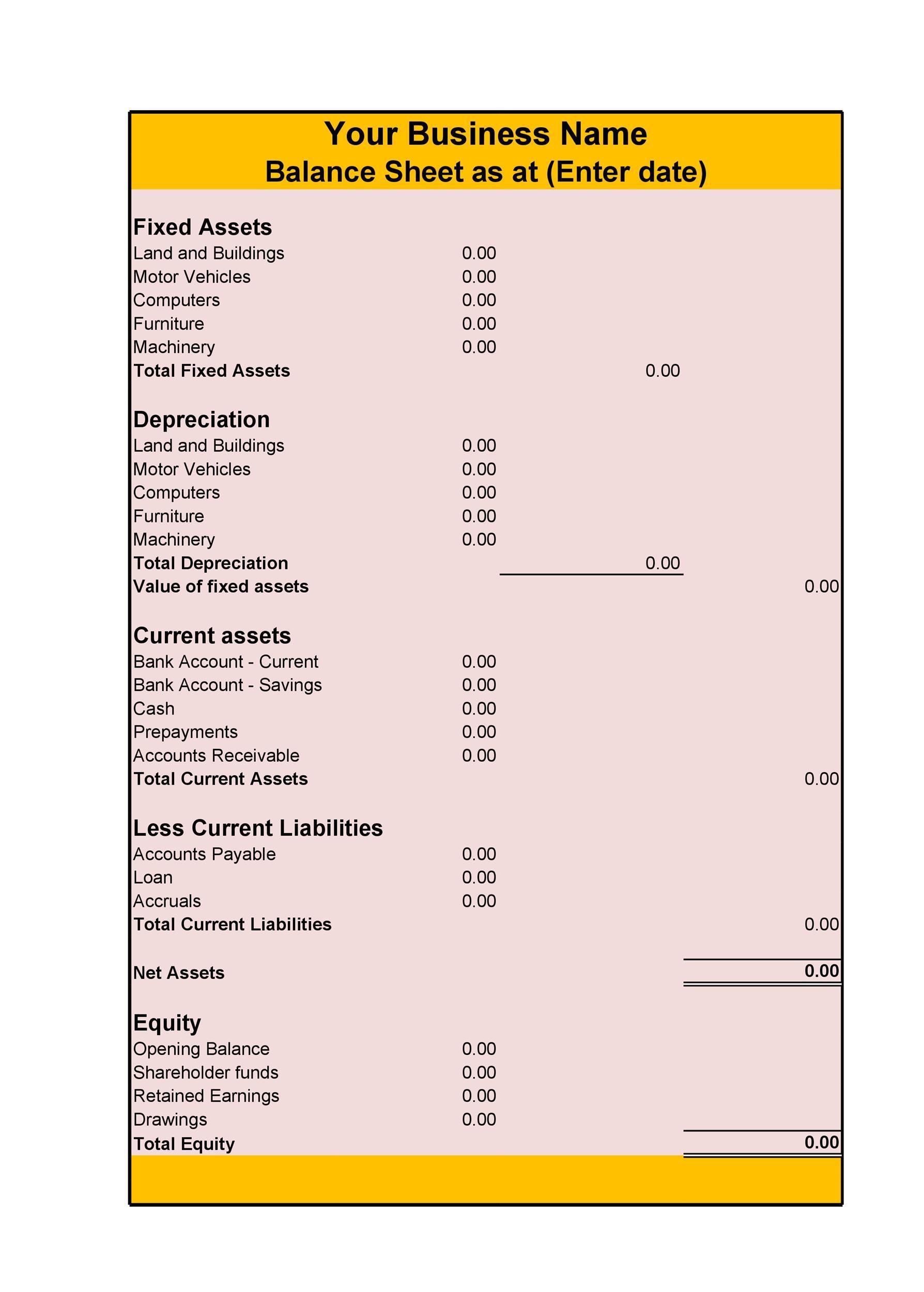 Free Balance Sheet Template 29