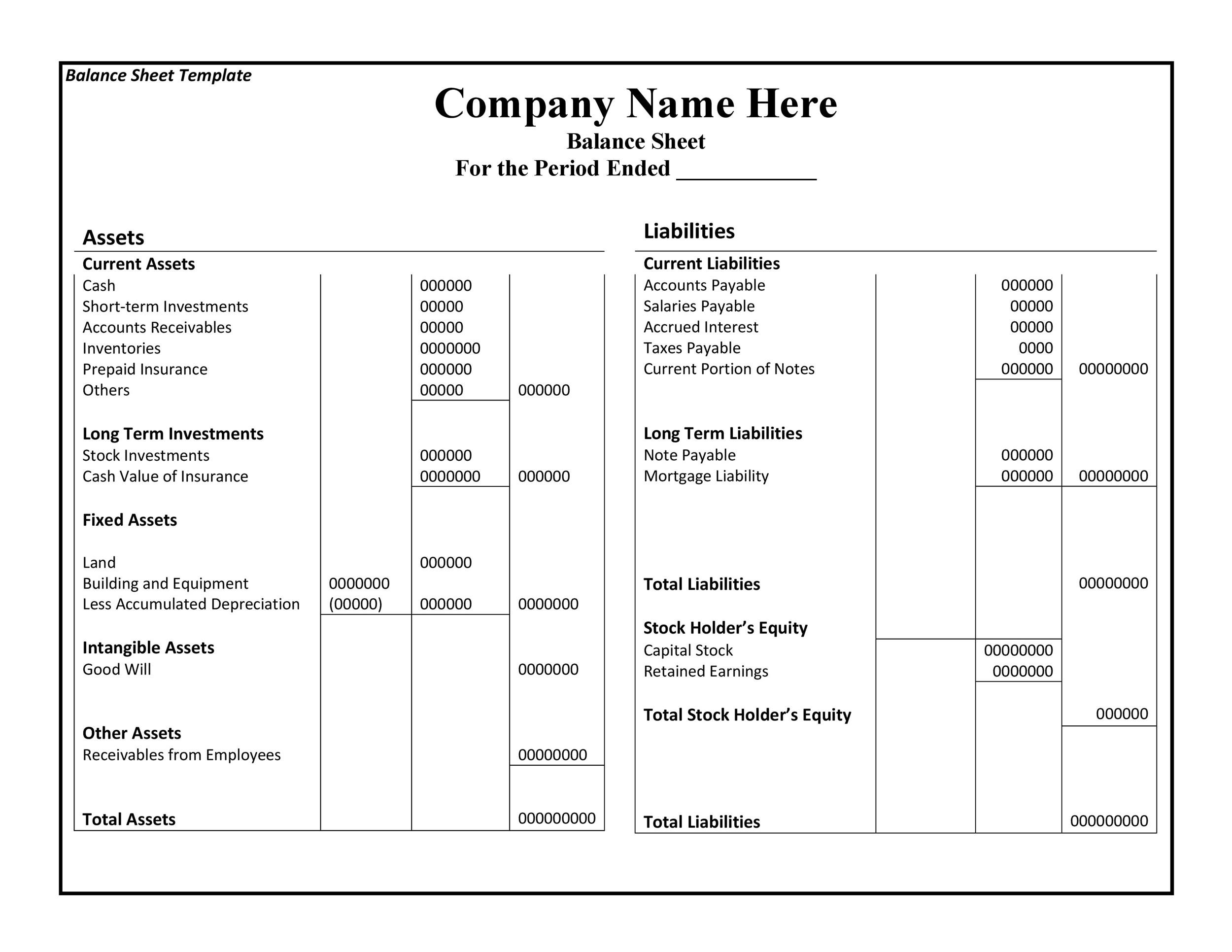 Free Balance Sheet Template 38