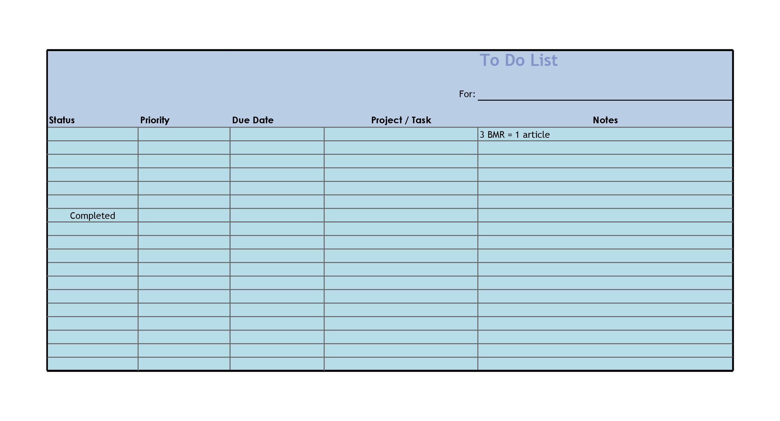 homework to do list template