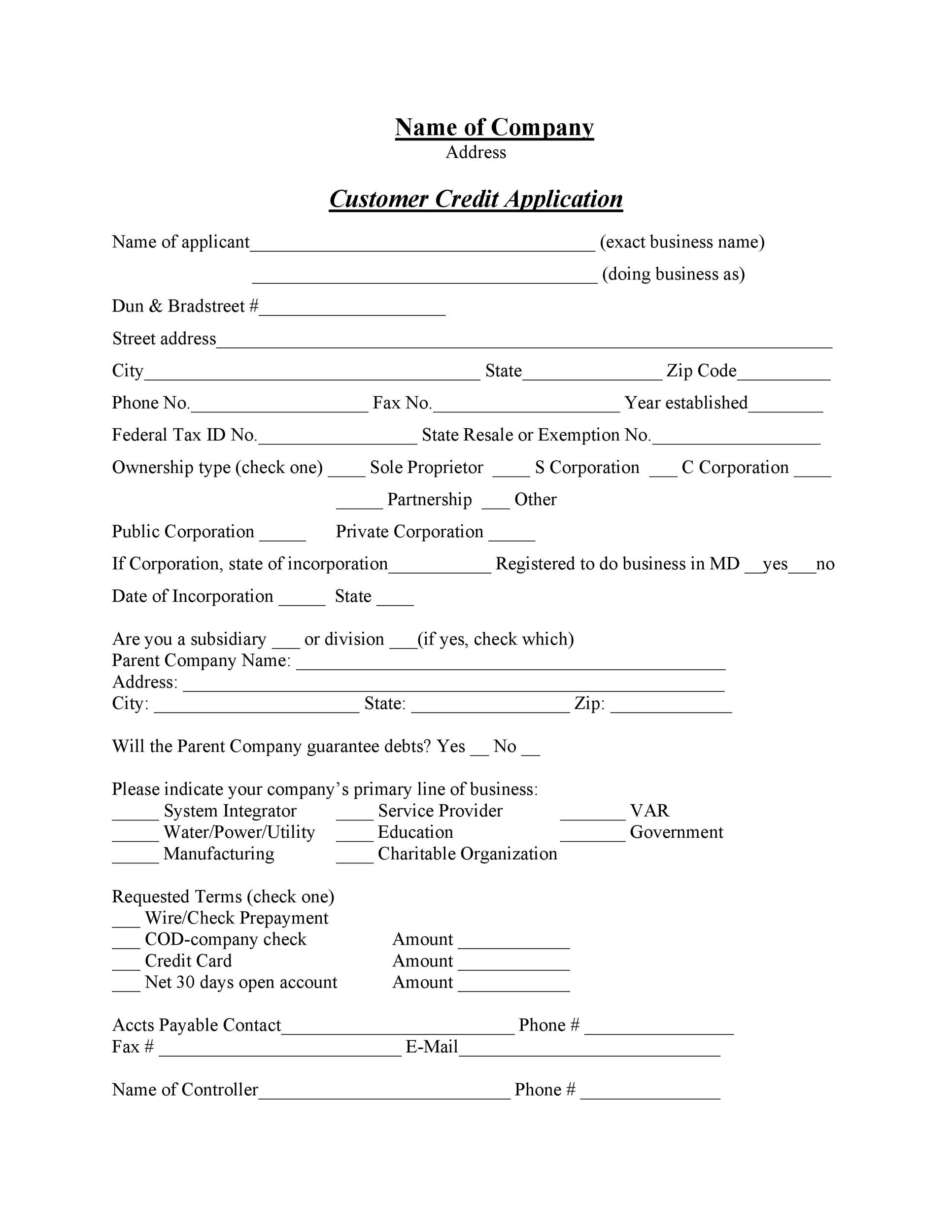 Free Credit Application Form Templates  Samples