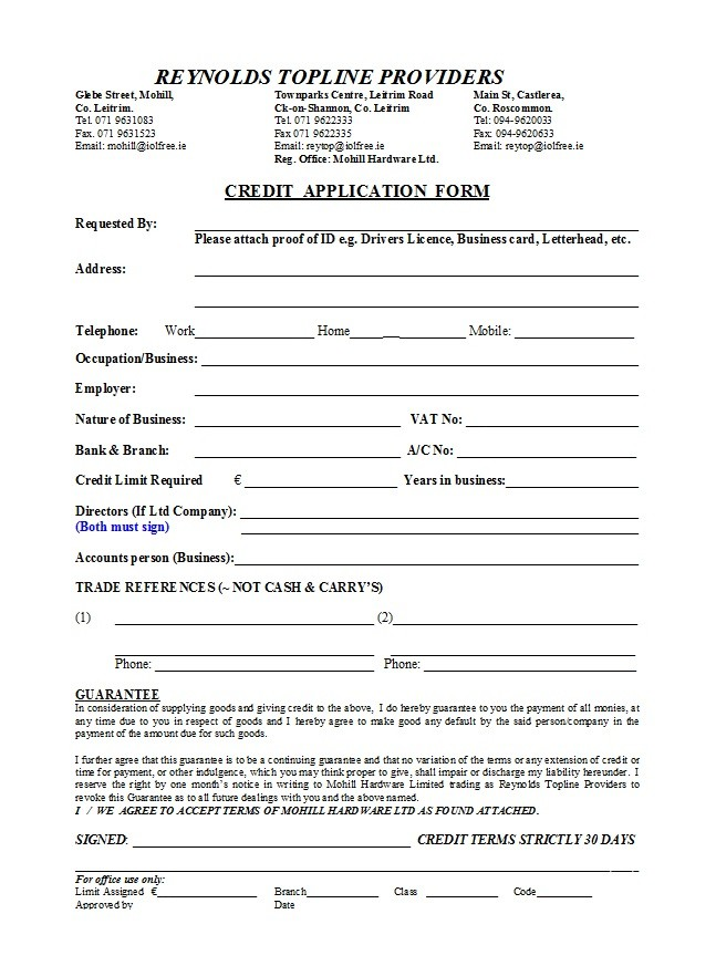 Free Credit Application Form 11