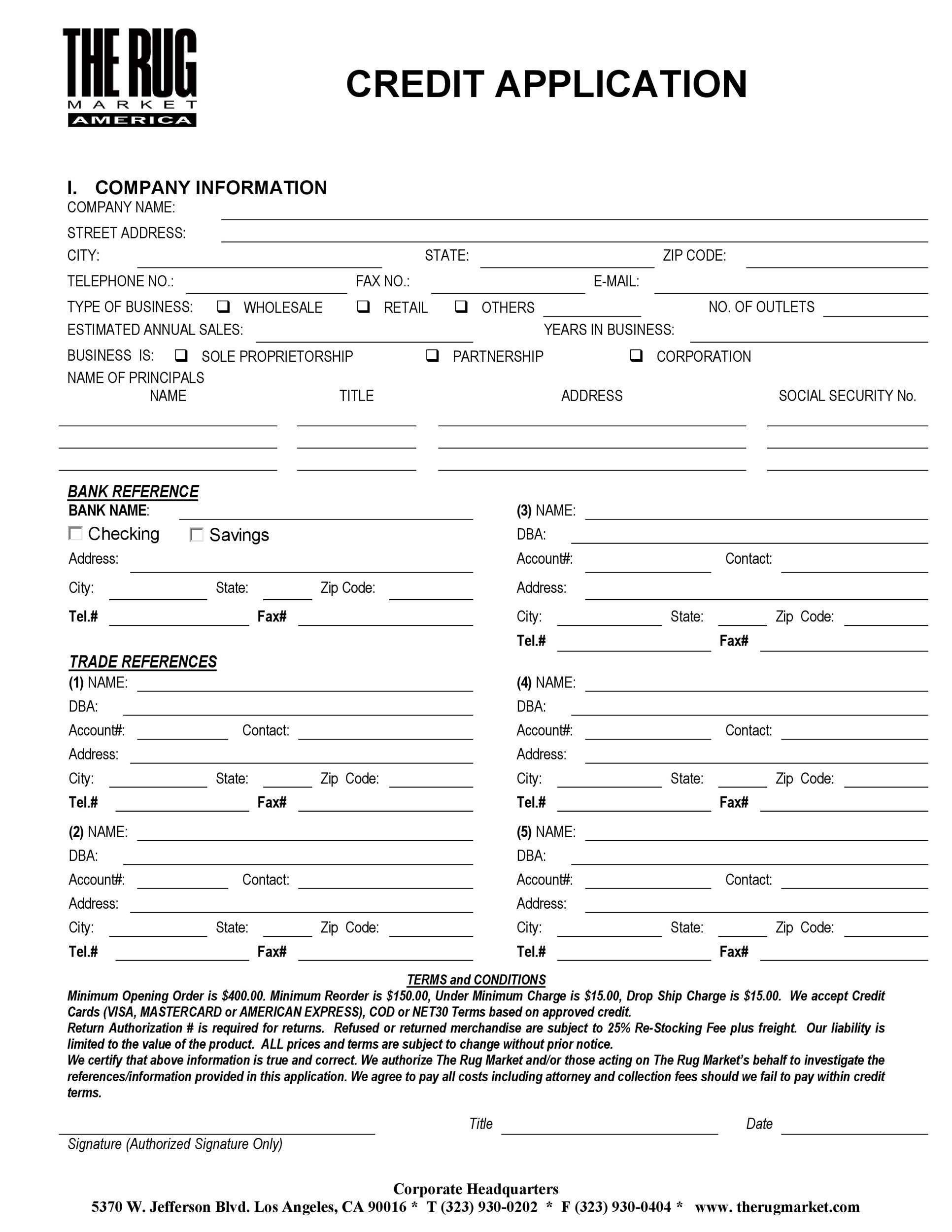 Printable Credit Application Form 17  Customer Form Template