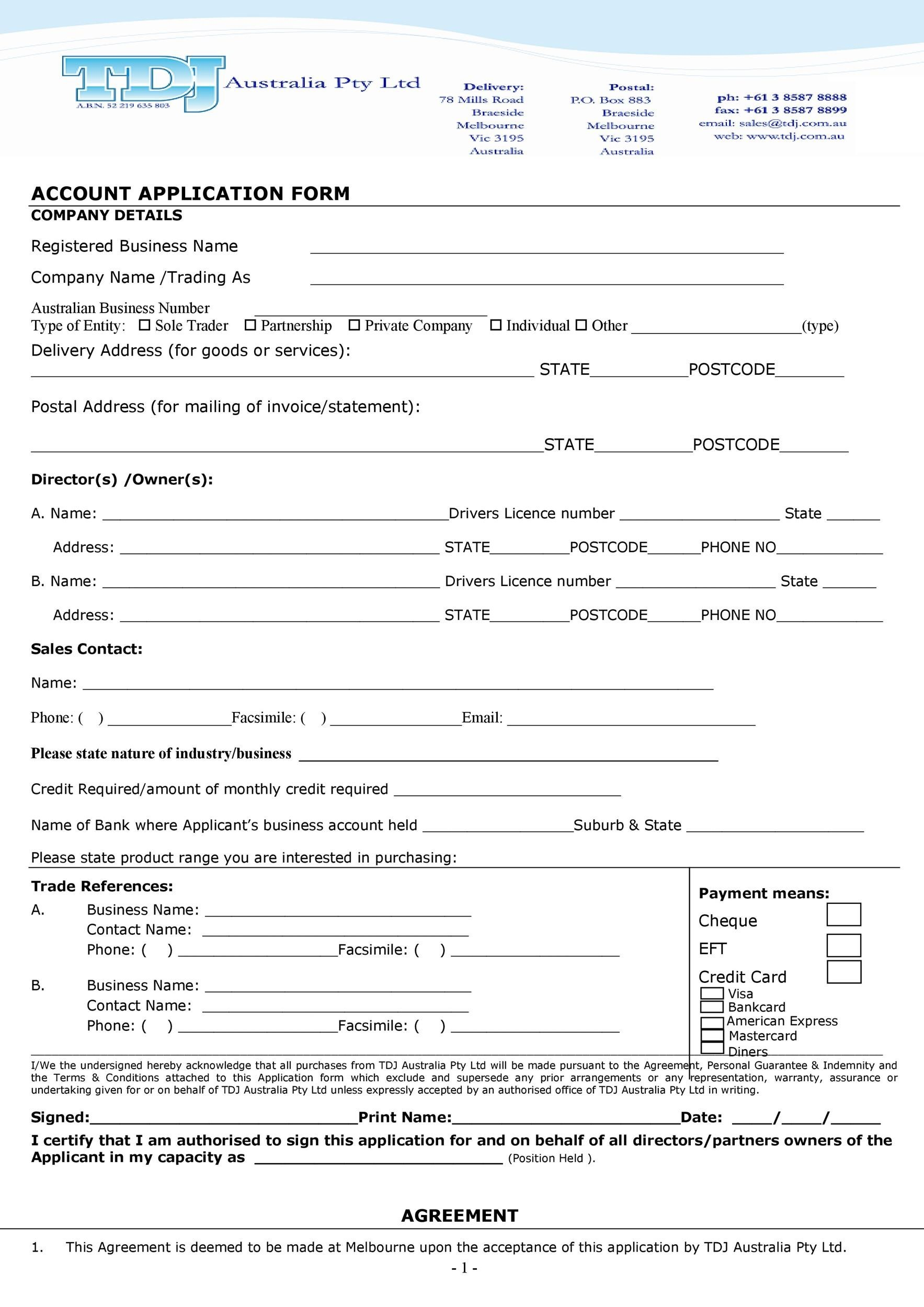 Free Credit Application Form 23