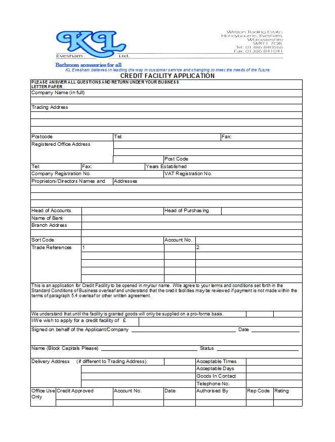 sample credit application form for business