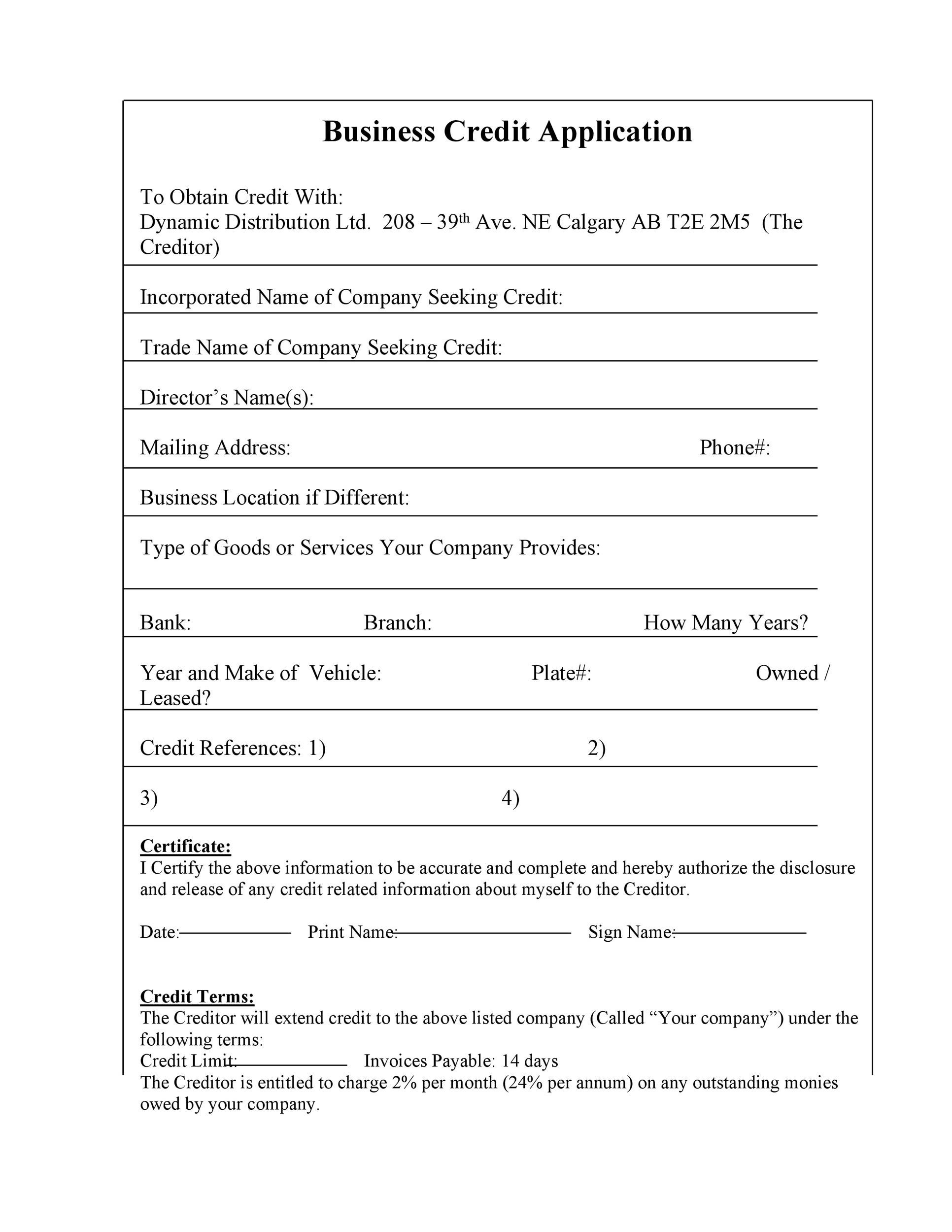 credit application form template uk
