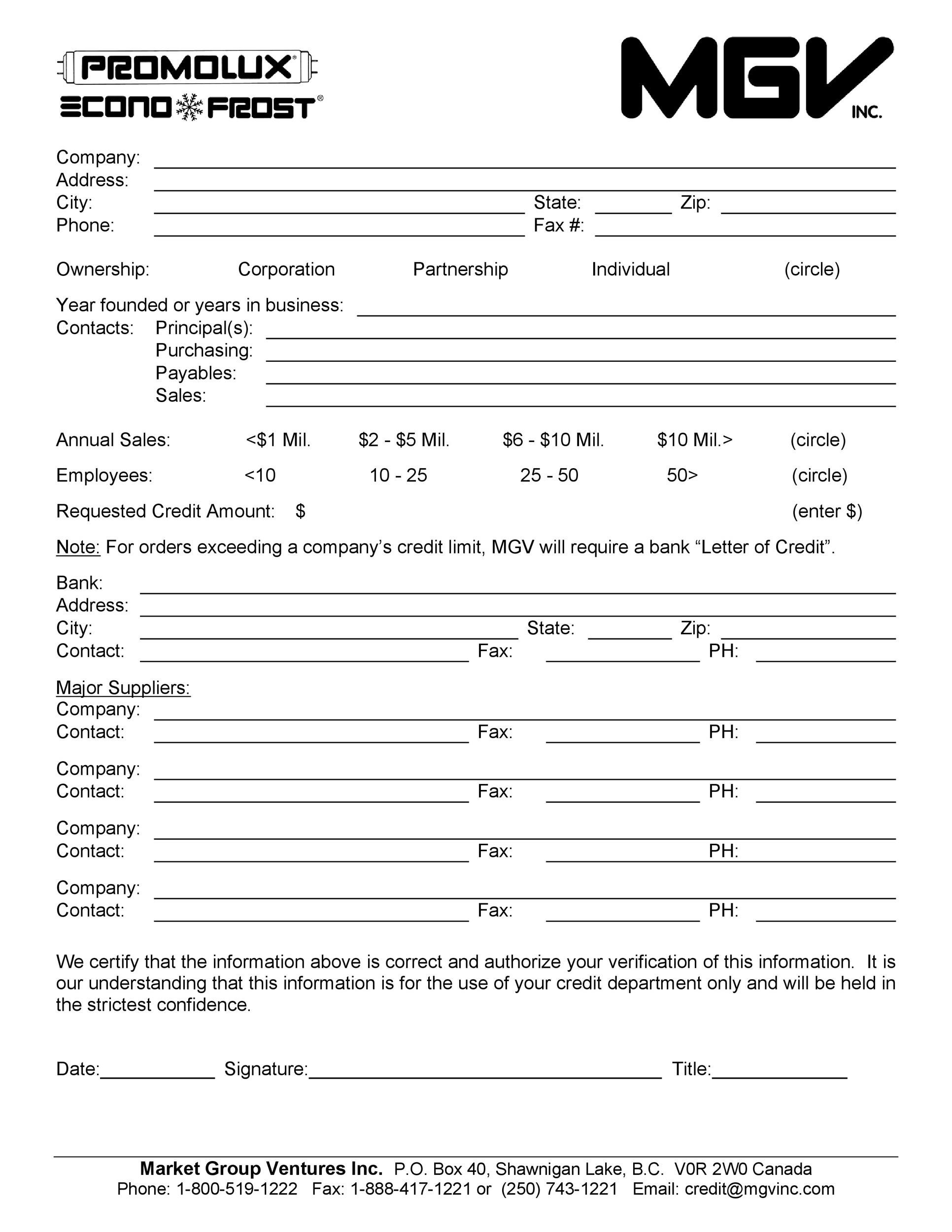 Free Credit Application Form 28