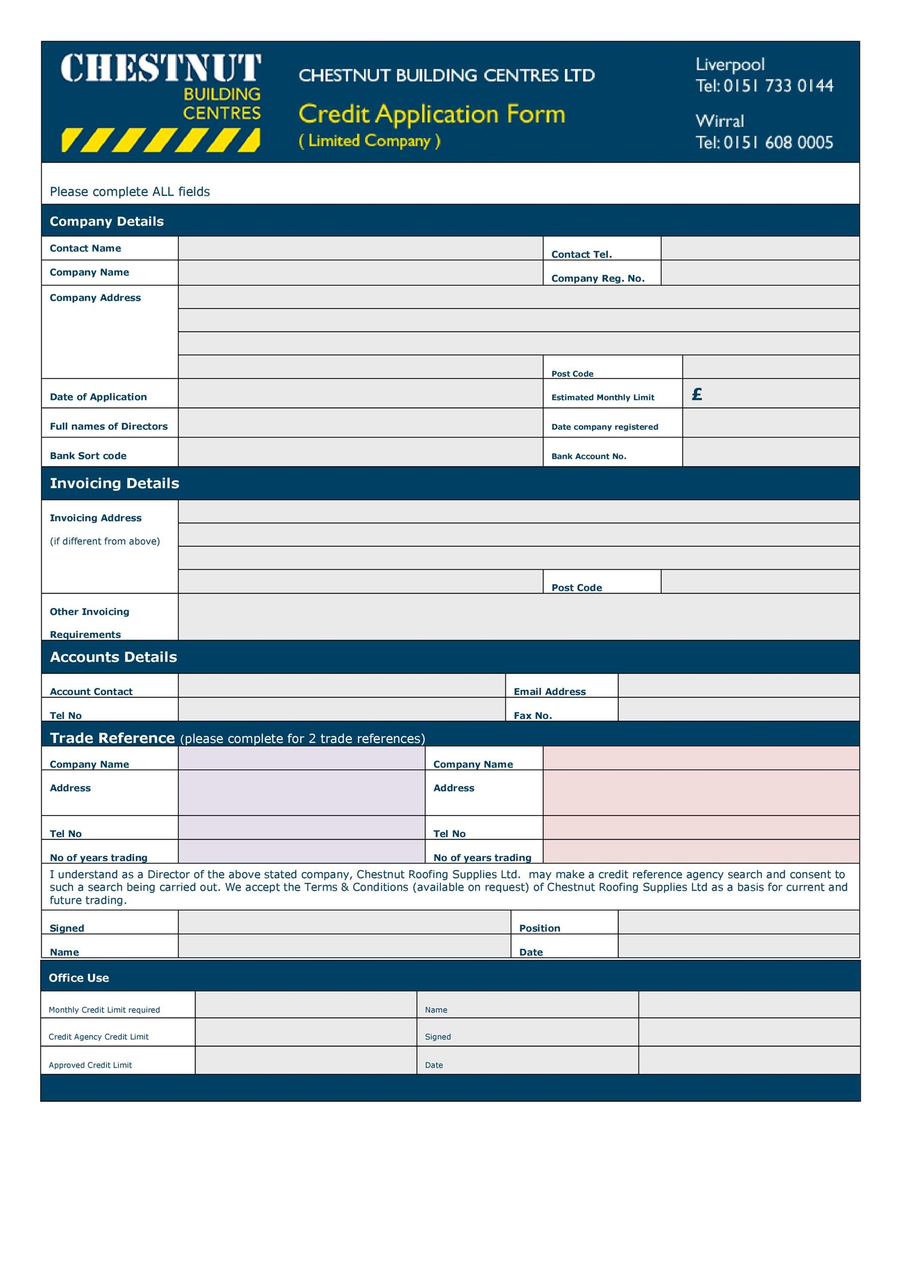 Free Credit Application Form 30