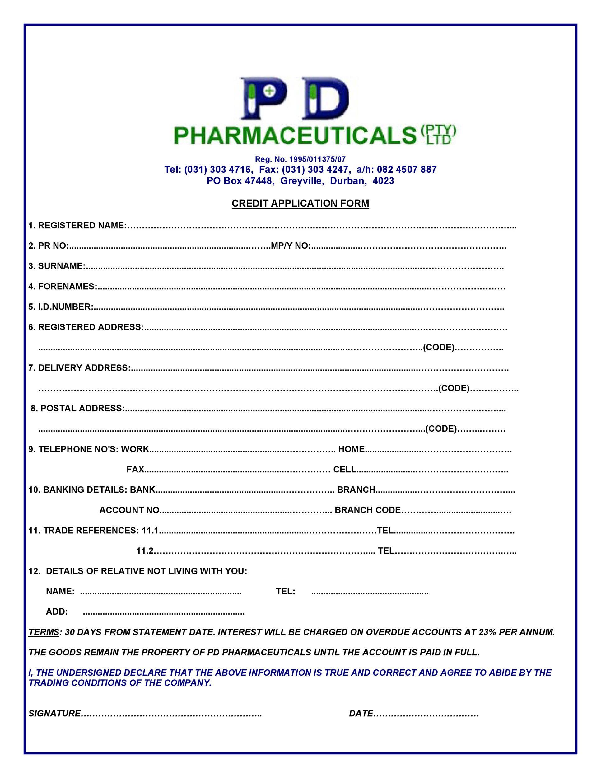 Free Credit Application Form 31