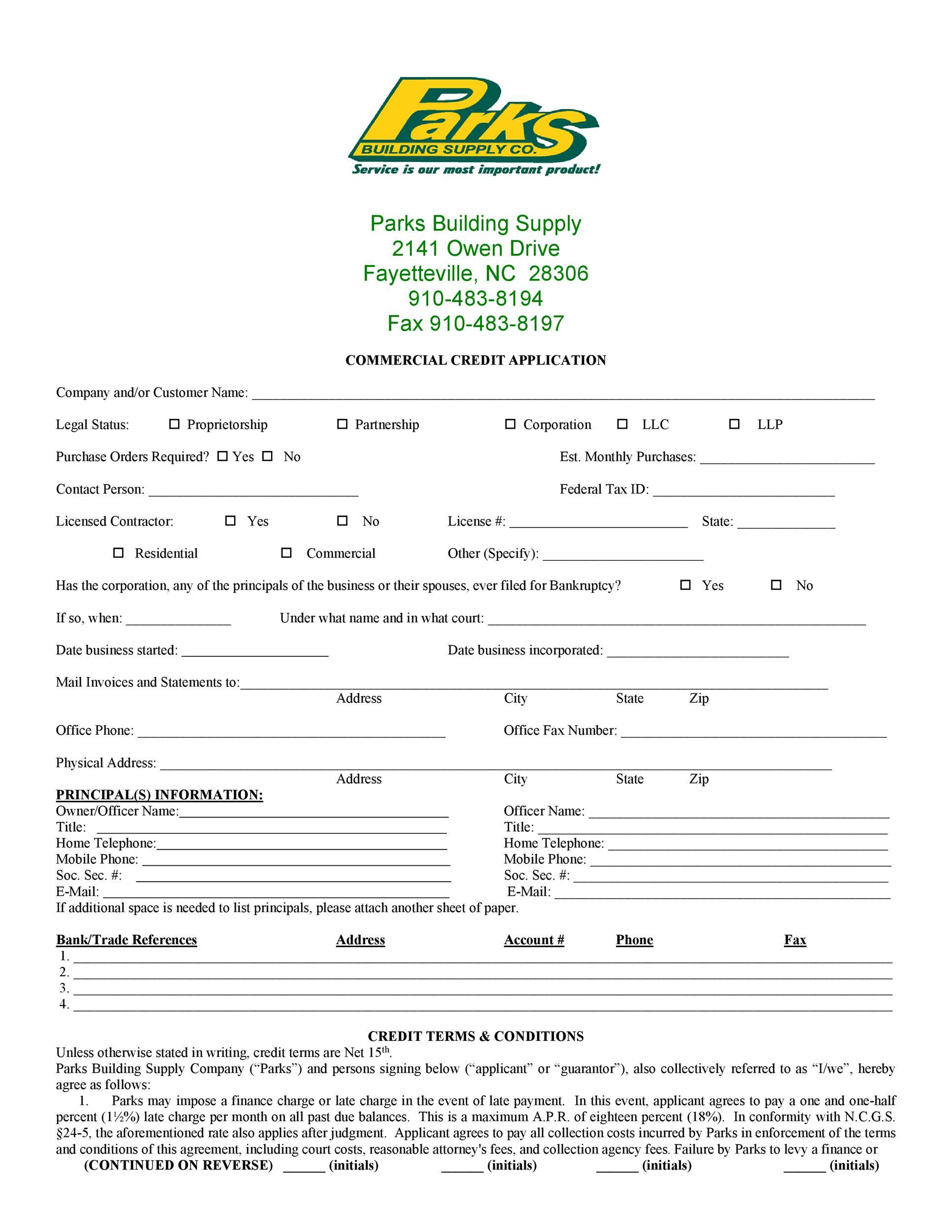 Free Credit Application Form 32