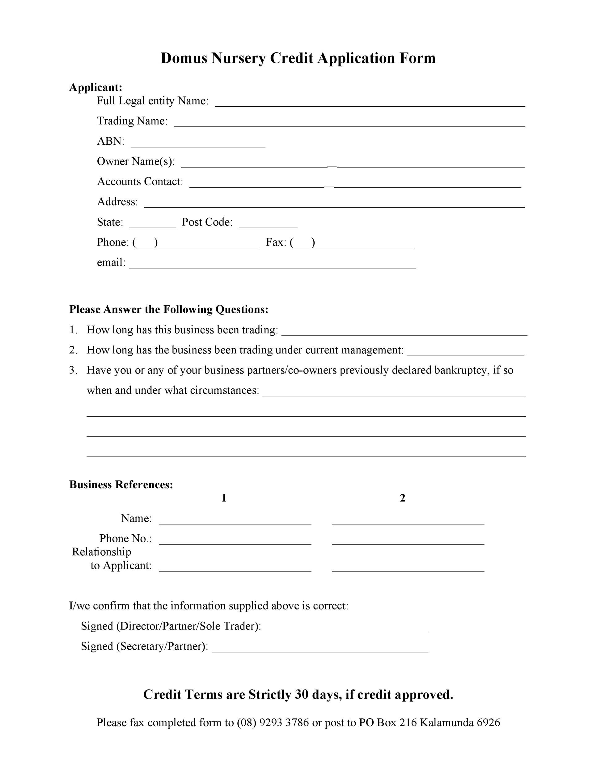 Free Credit Application Form 33