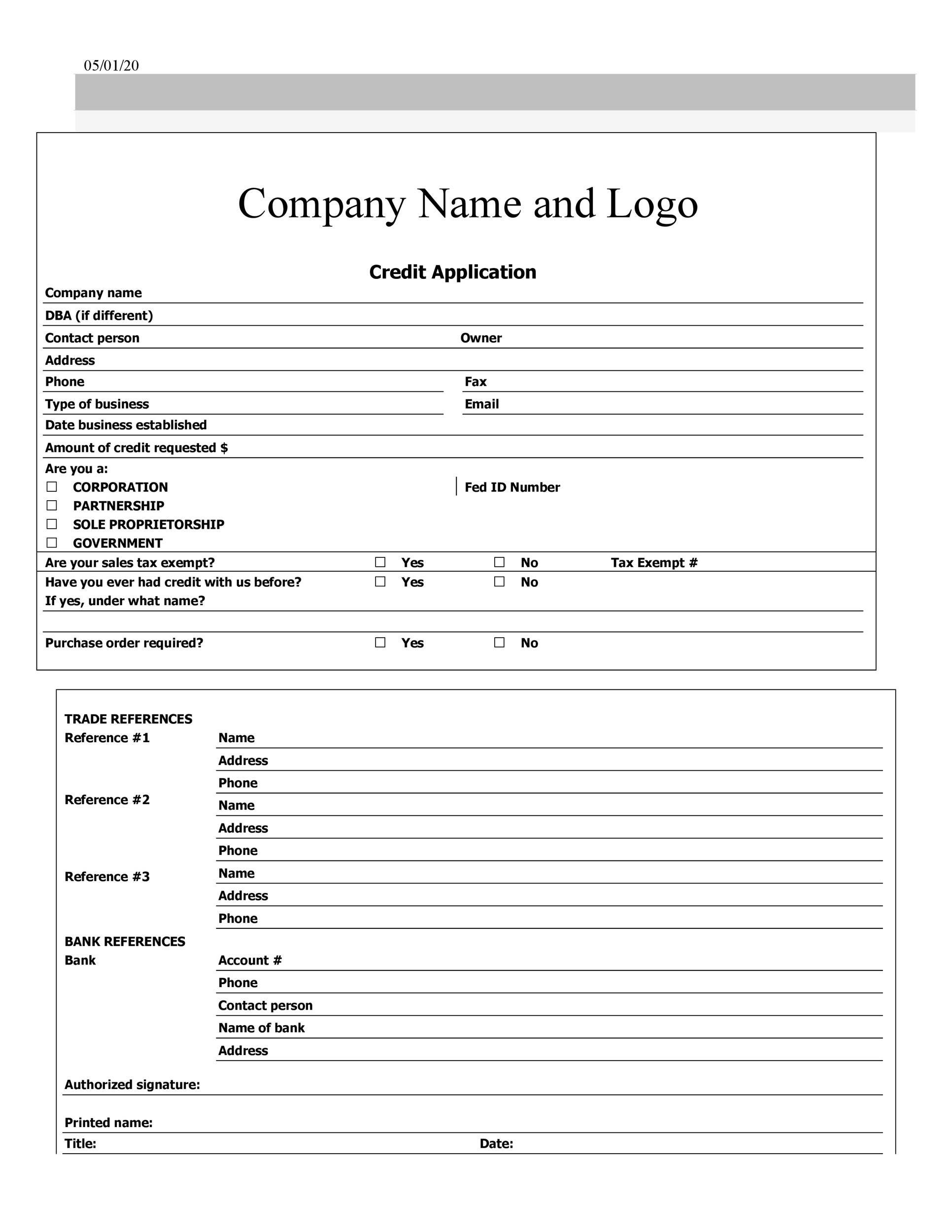 Free Credit Application Form 34