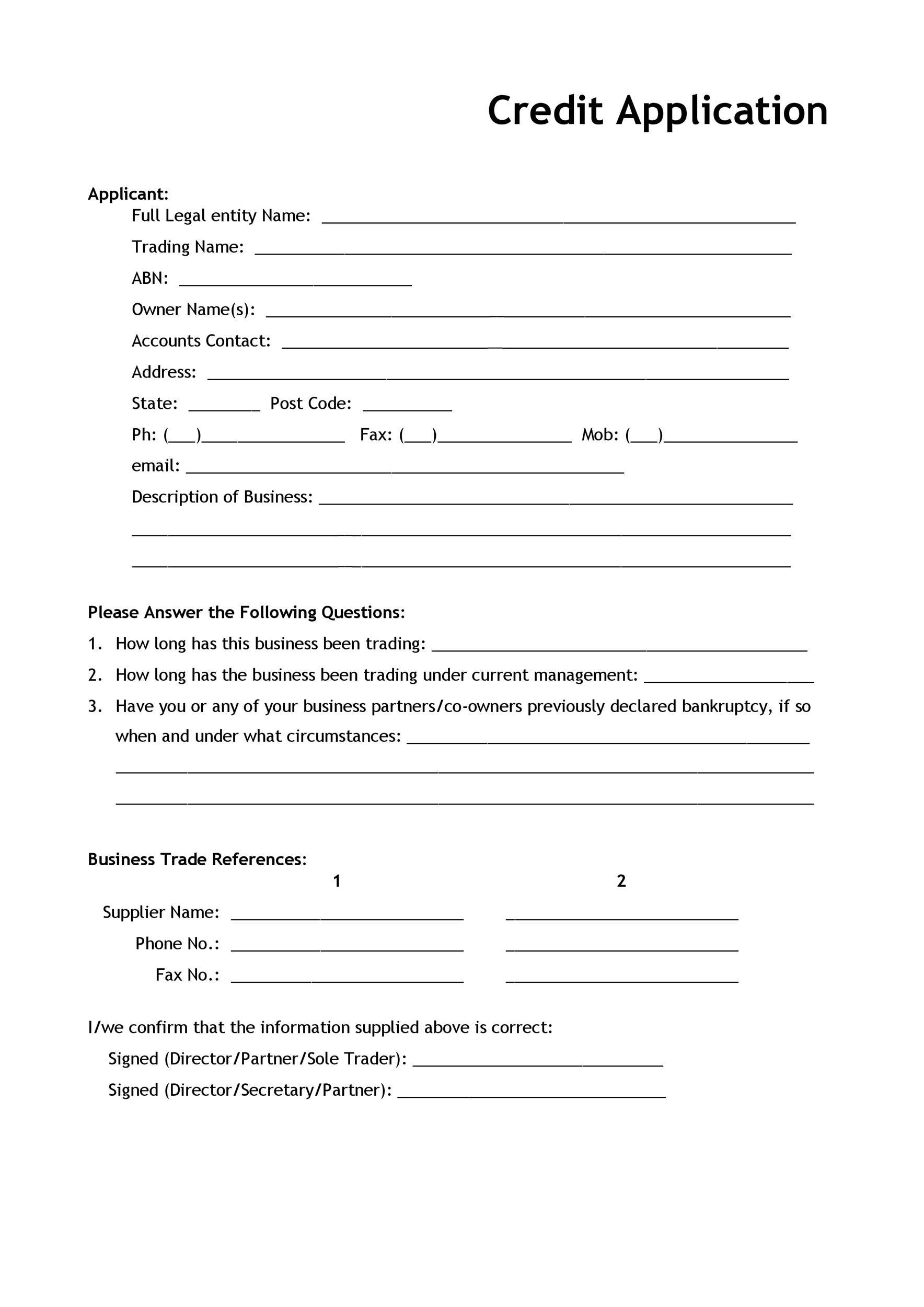 Free Credit Application Form 40