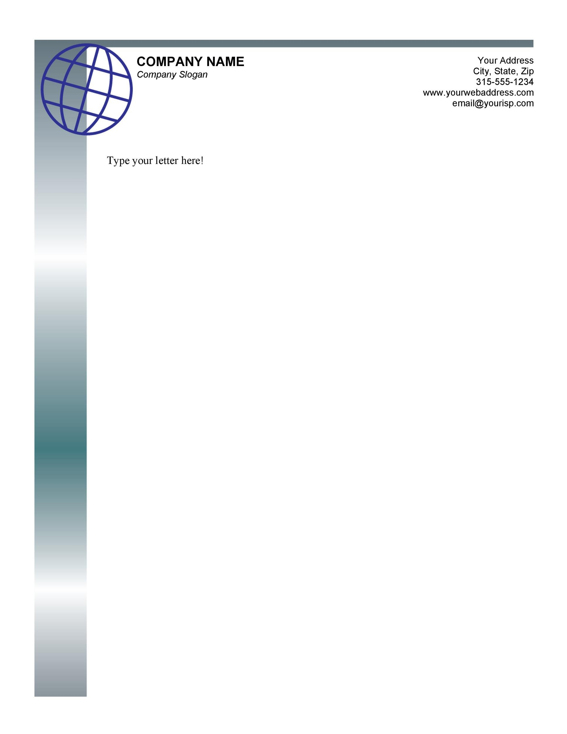 Printable Letterhead Template 03  Letter Templates Word