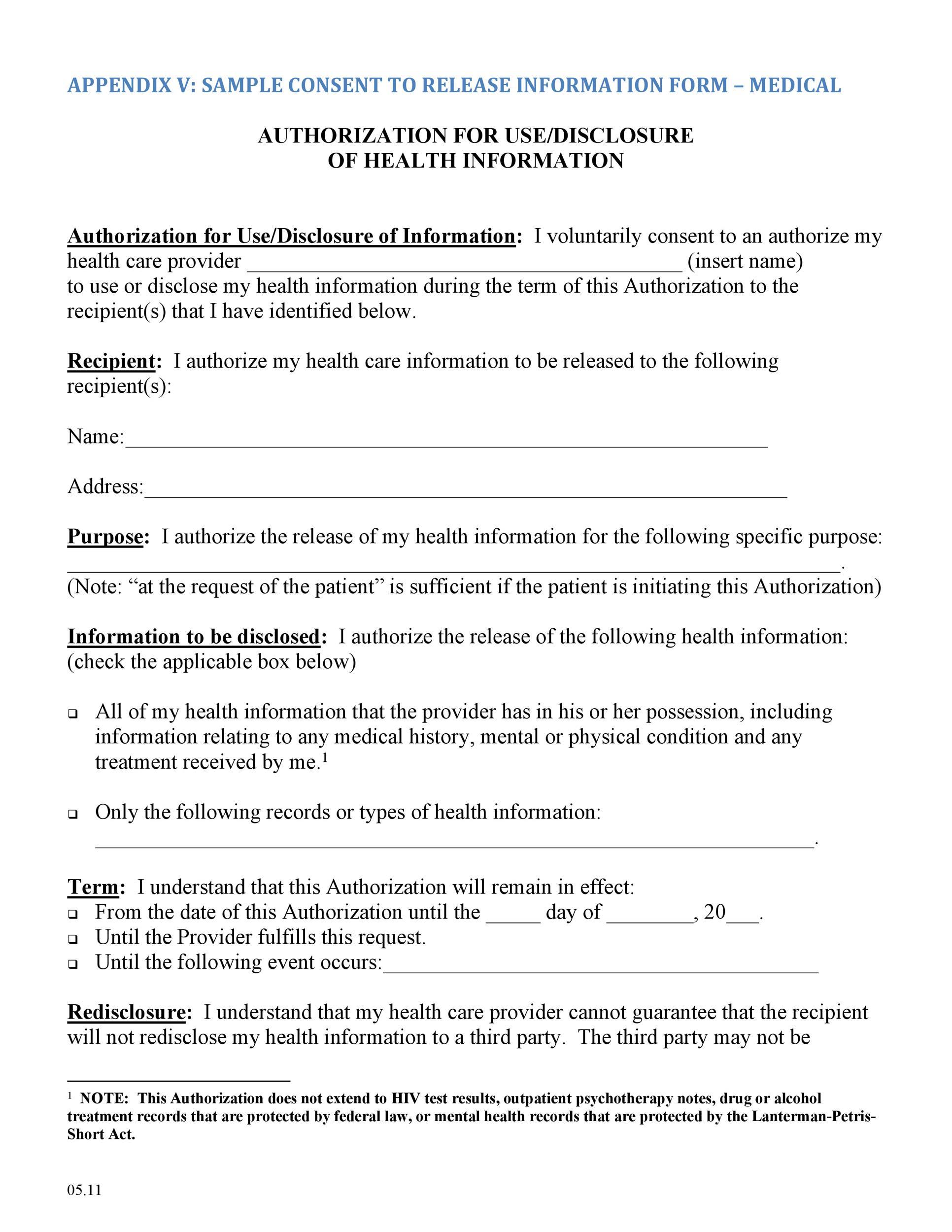 Medical Release Form 01