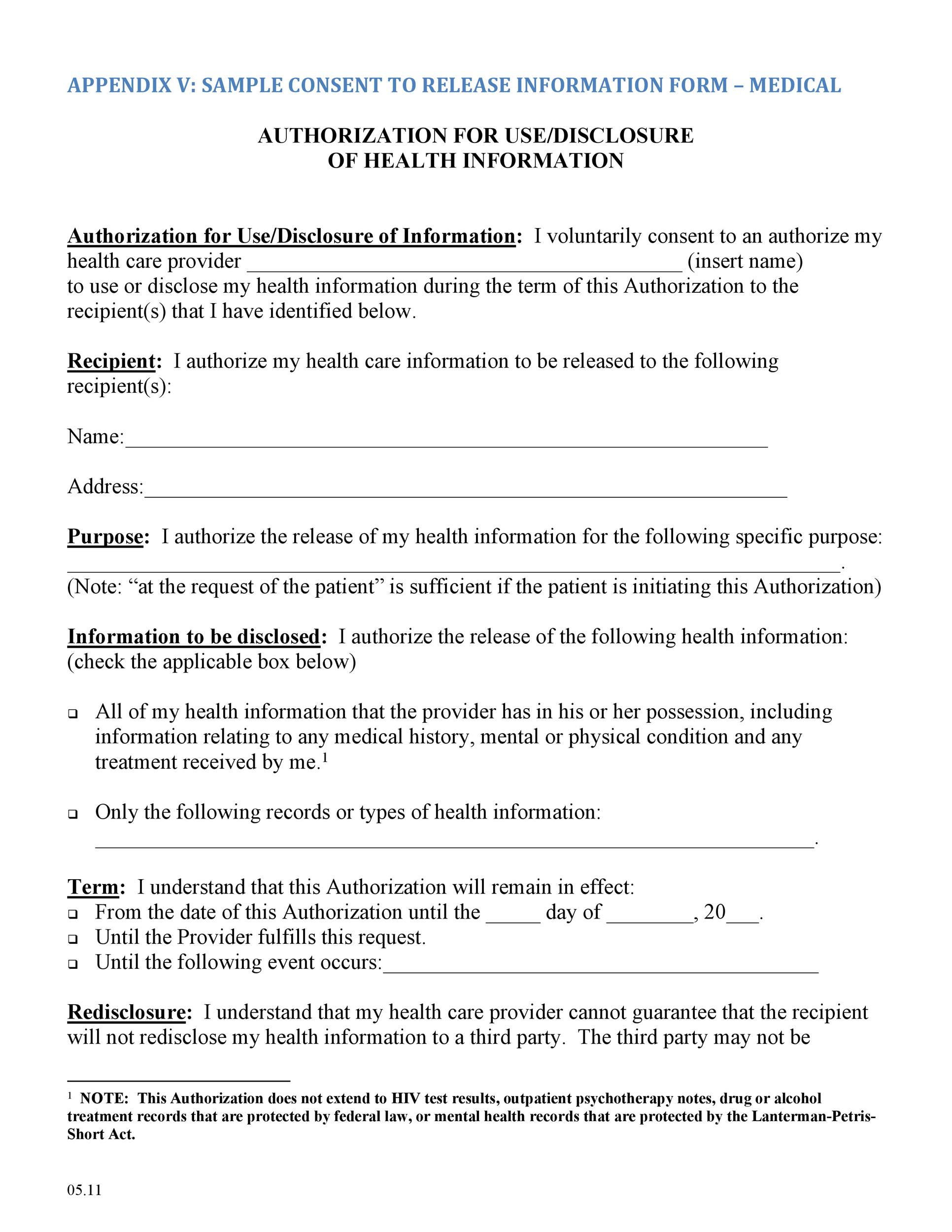 Free Medical Release Form 01