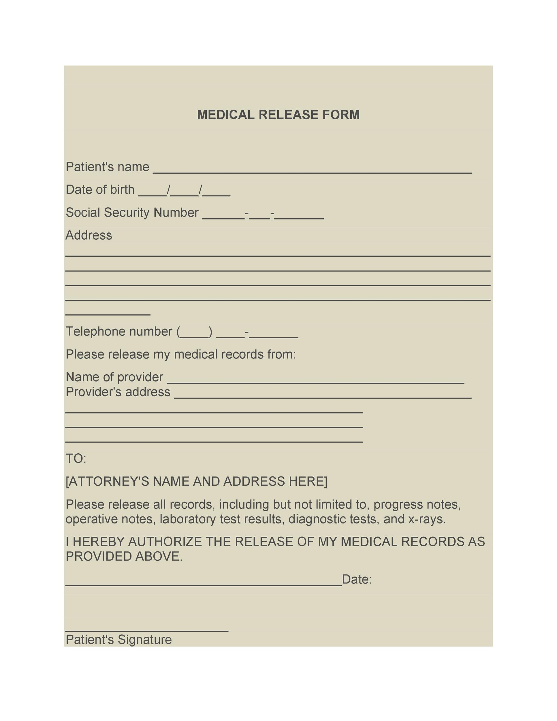 Printable Medical Release Form 02  Free Medical Form Templates