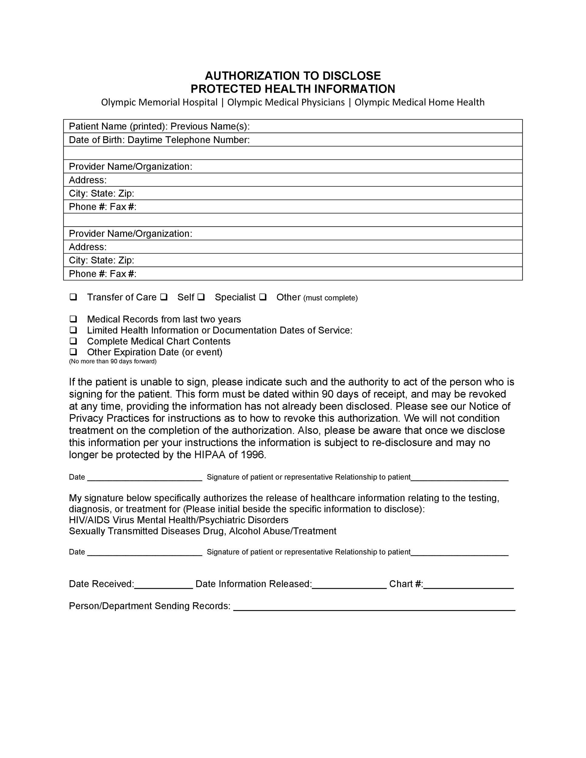 Work Release Form Samples