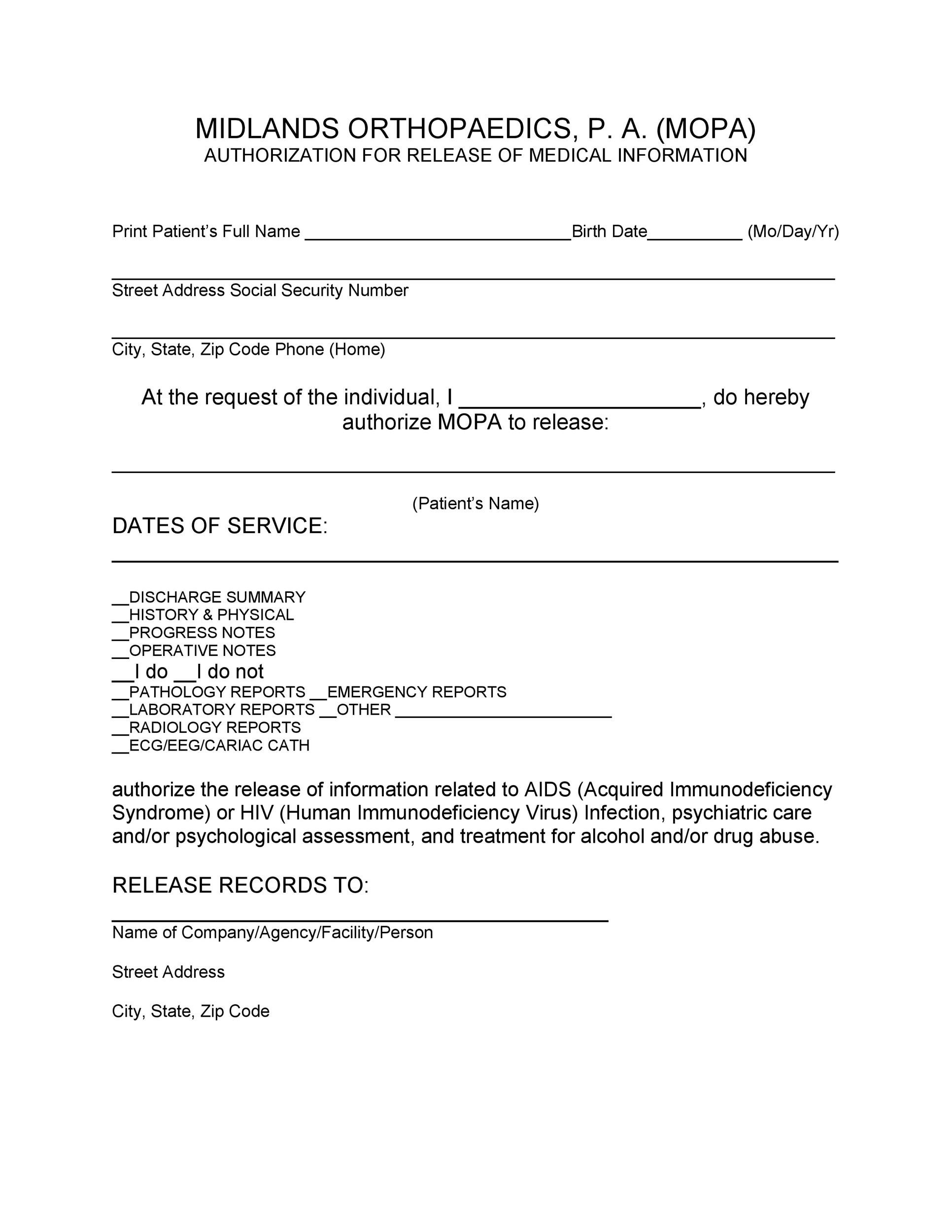 Elegant Free Medical Release Form 04