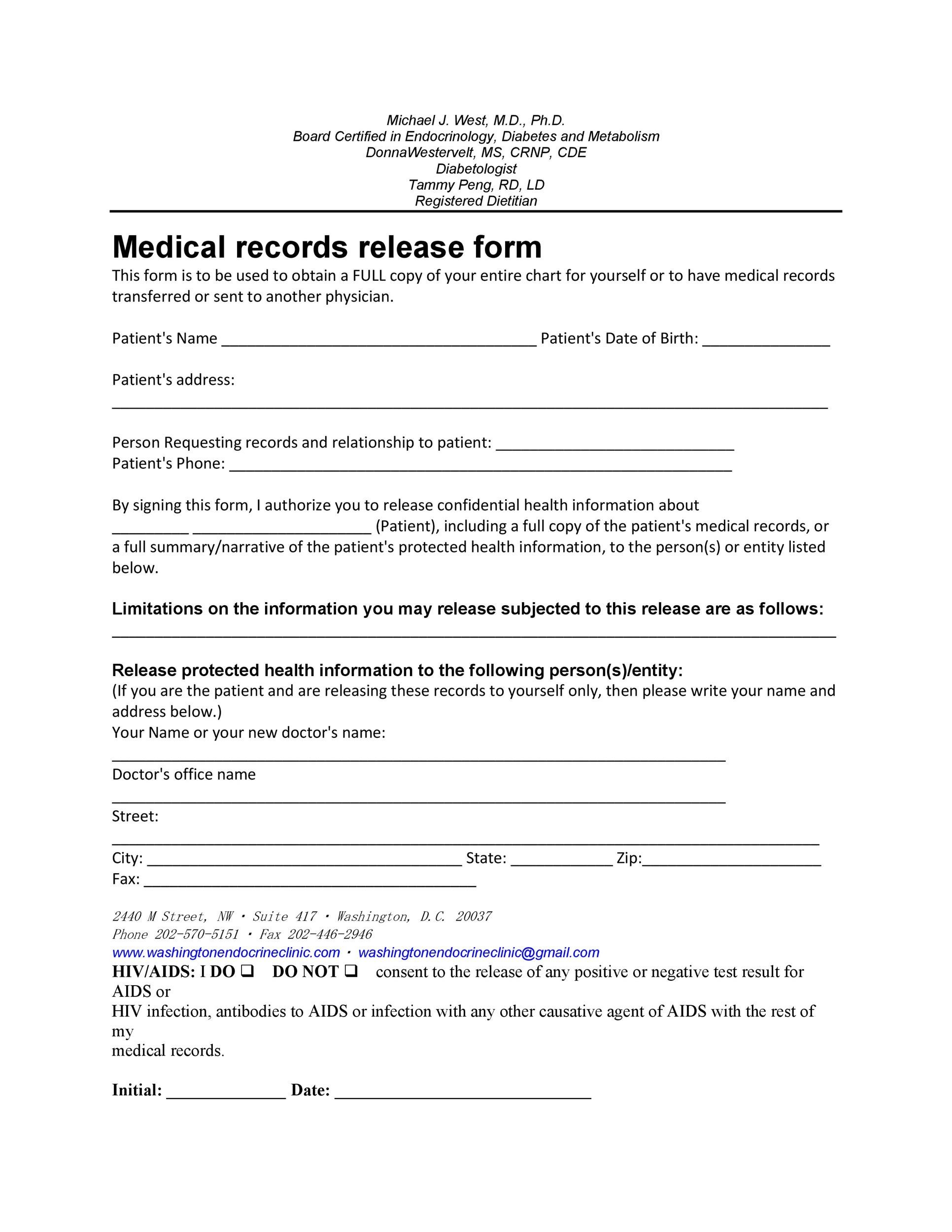 Printable Medical Release Form 05  Medical Record Release Form Template