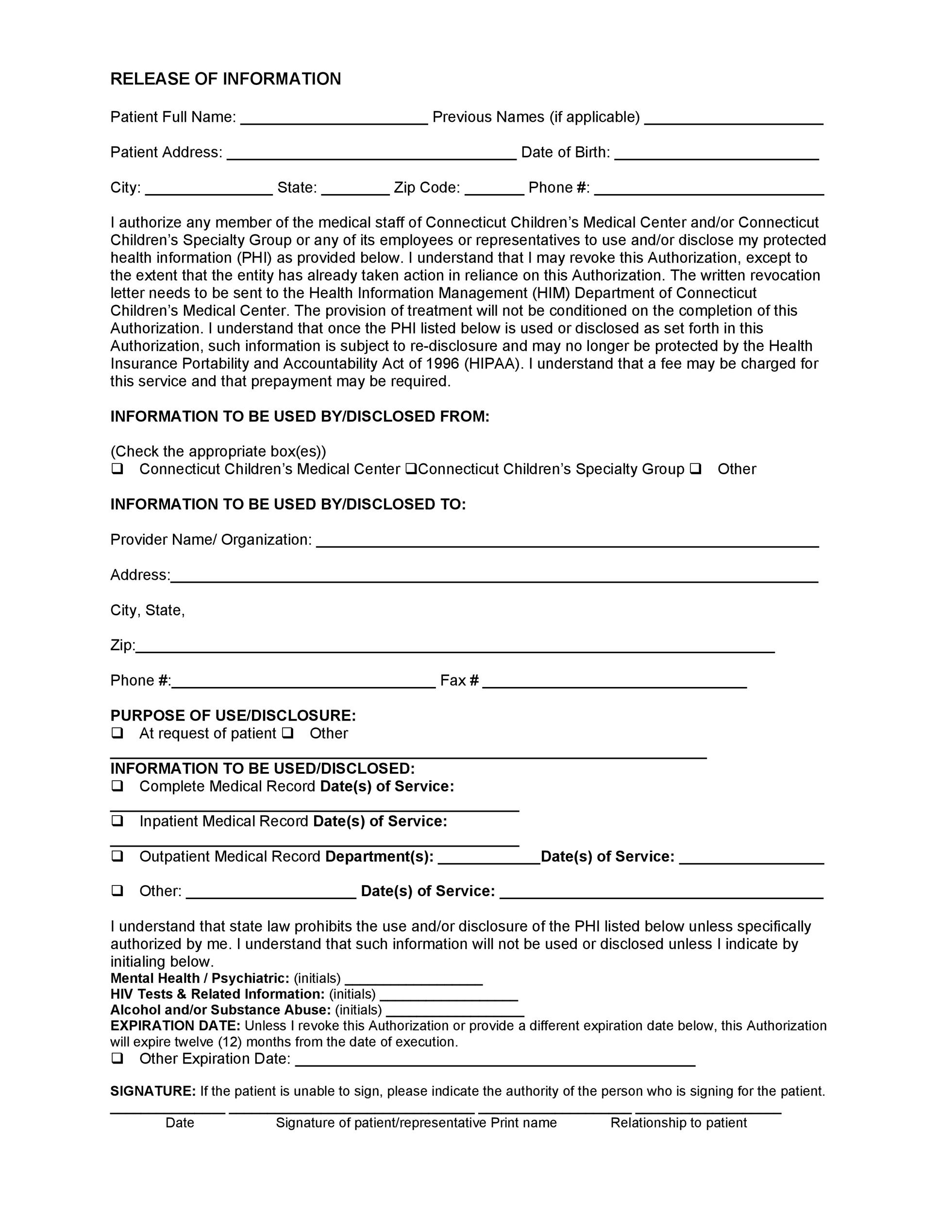 Free Medical Release Form 06