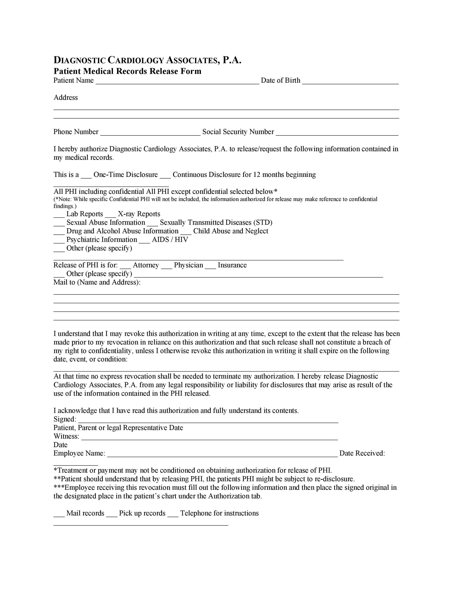 Printable Medical Release Form 07  Medical Record Release Form Template