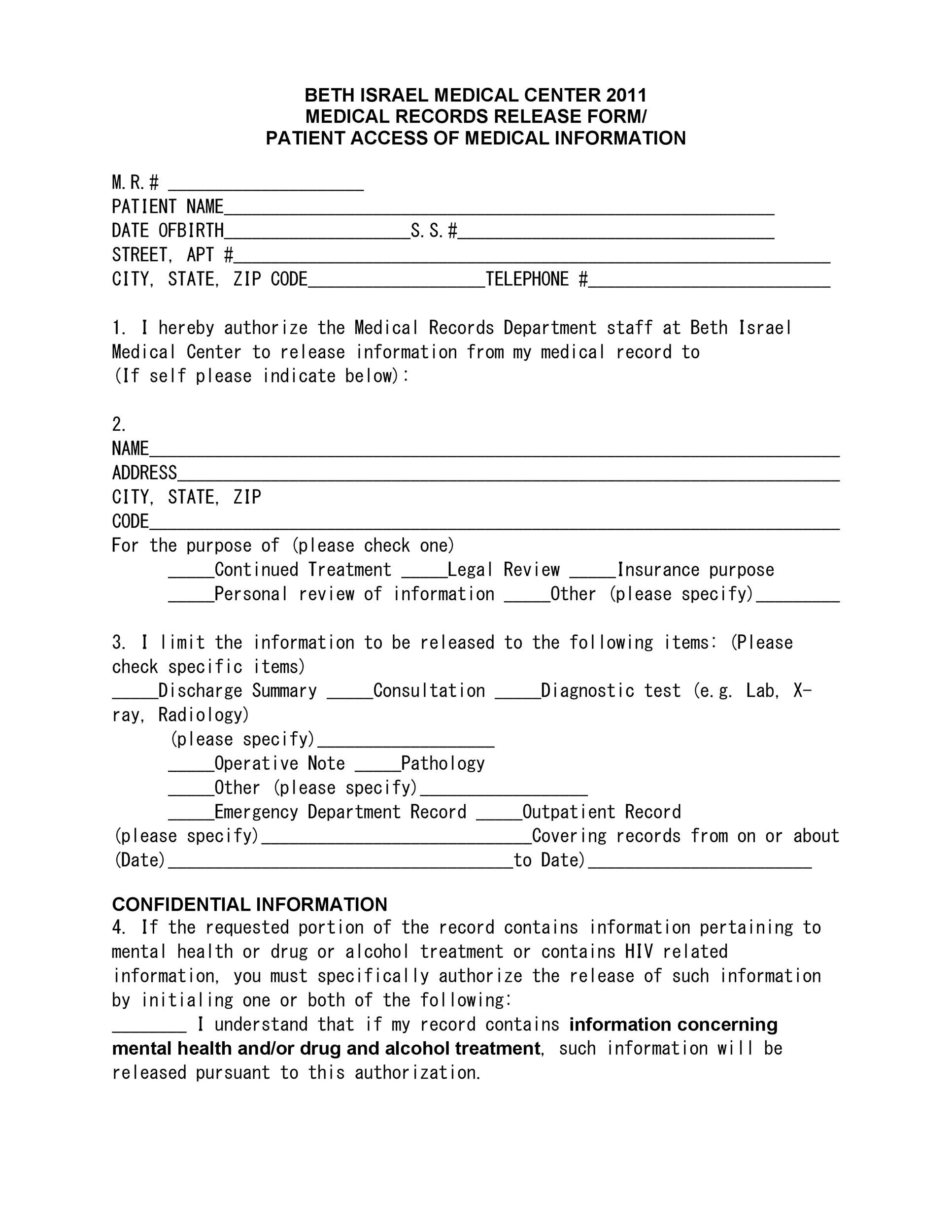 Free Medical Release Form 08