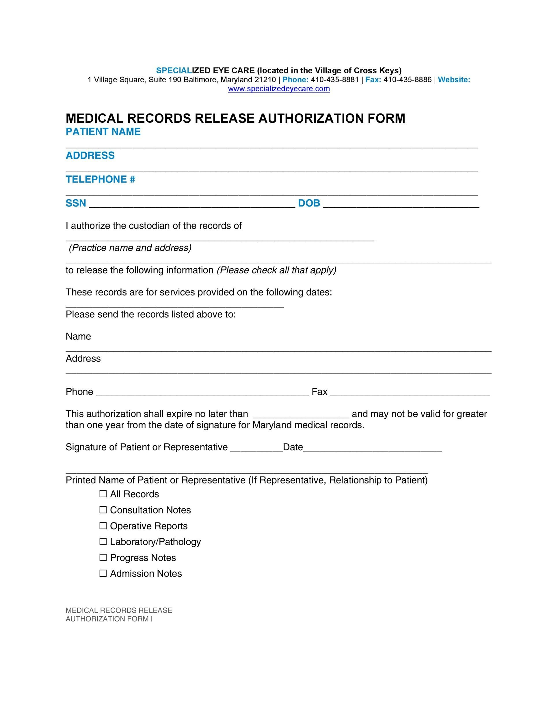 Free Medical Release Form 10