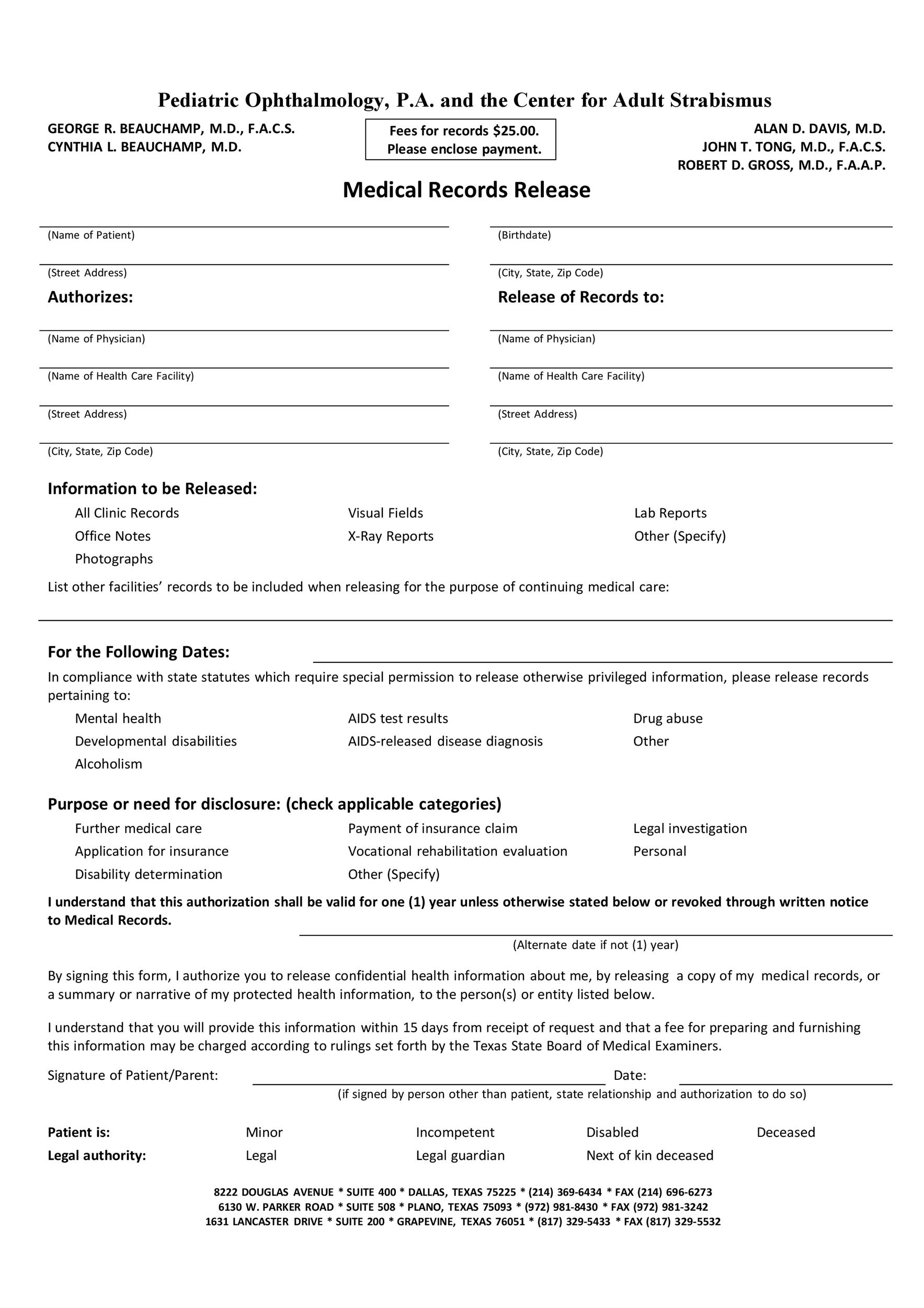 Printable Medical Release Form 11  Medical Record Release Form Template