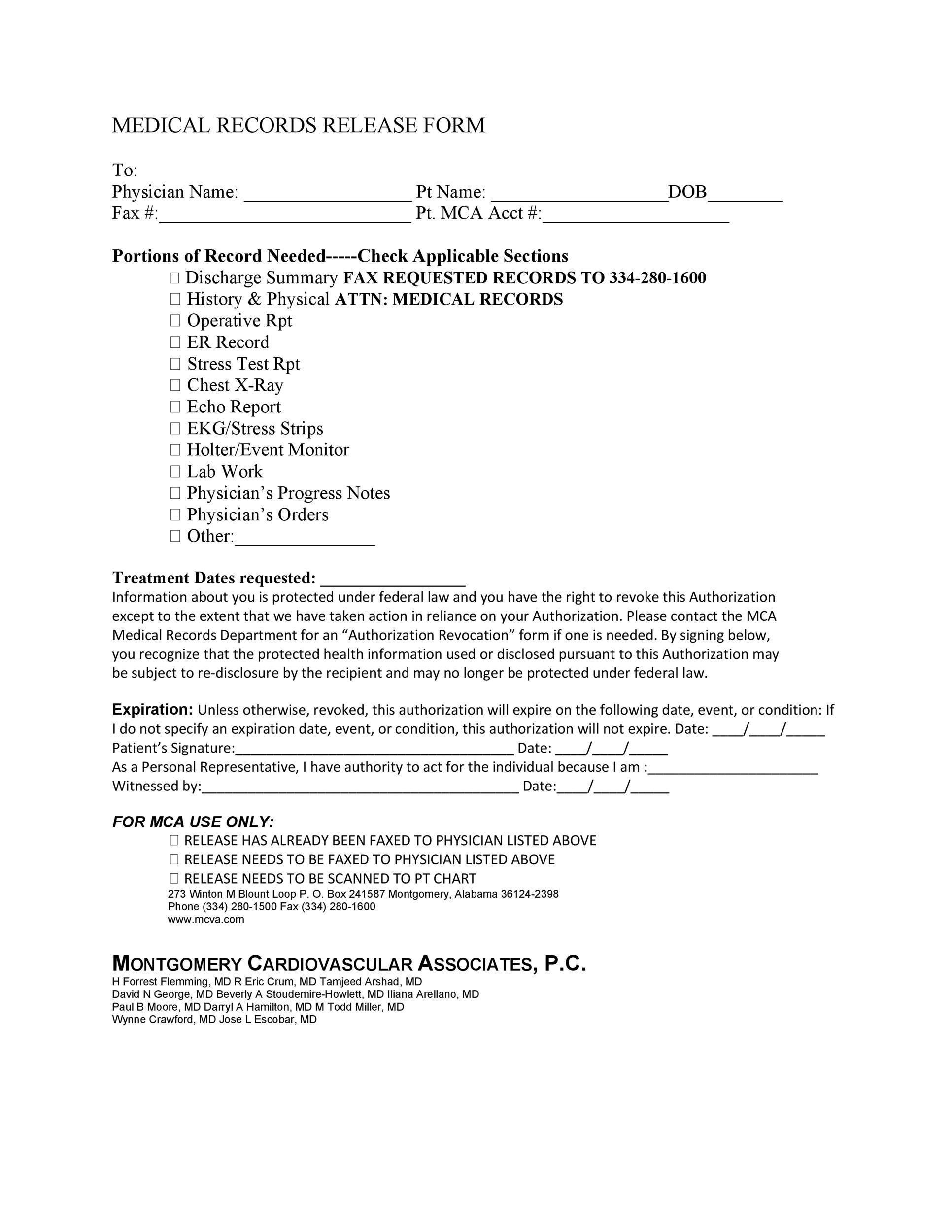 Printable Release Form. Dental Medical Records Release Medical