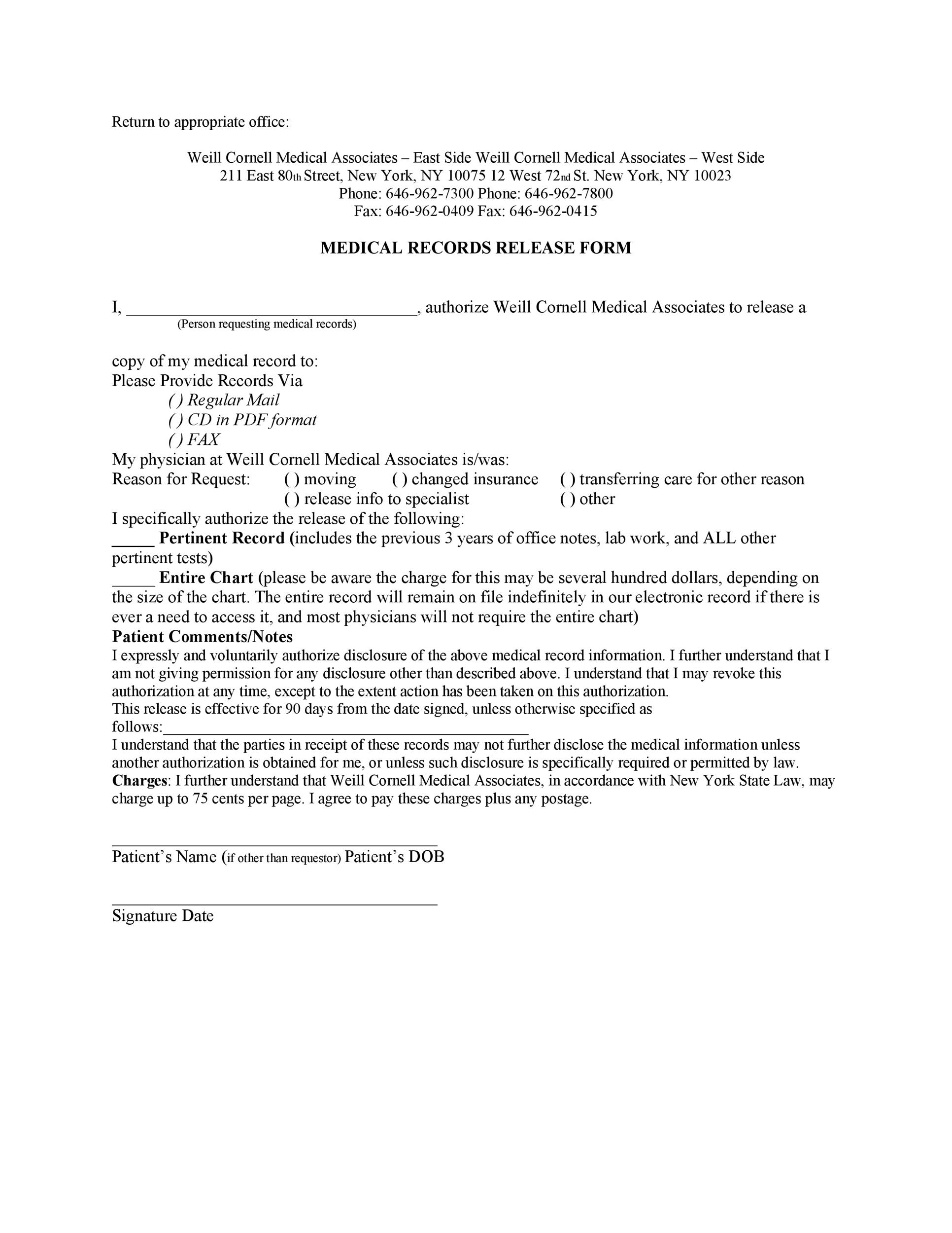 Free Medical Release Form 15