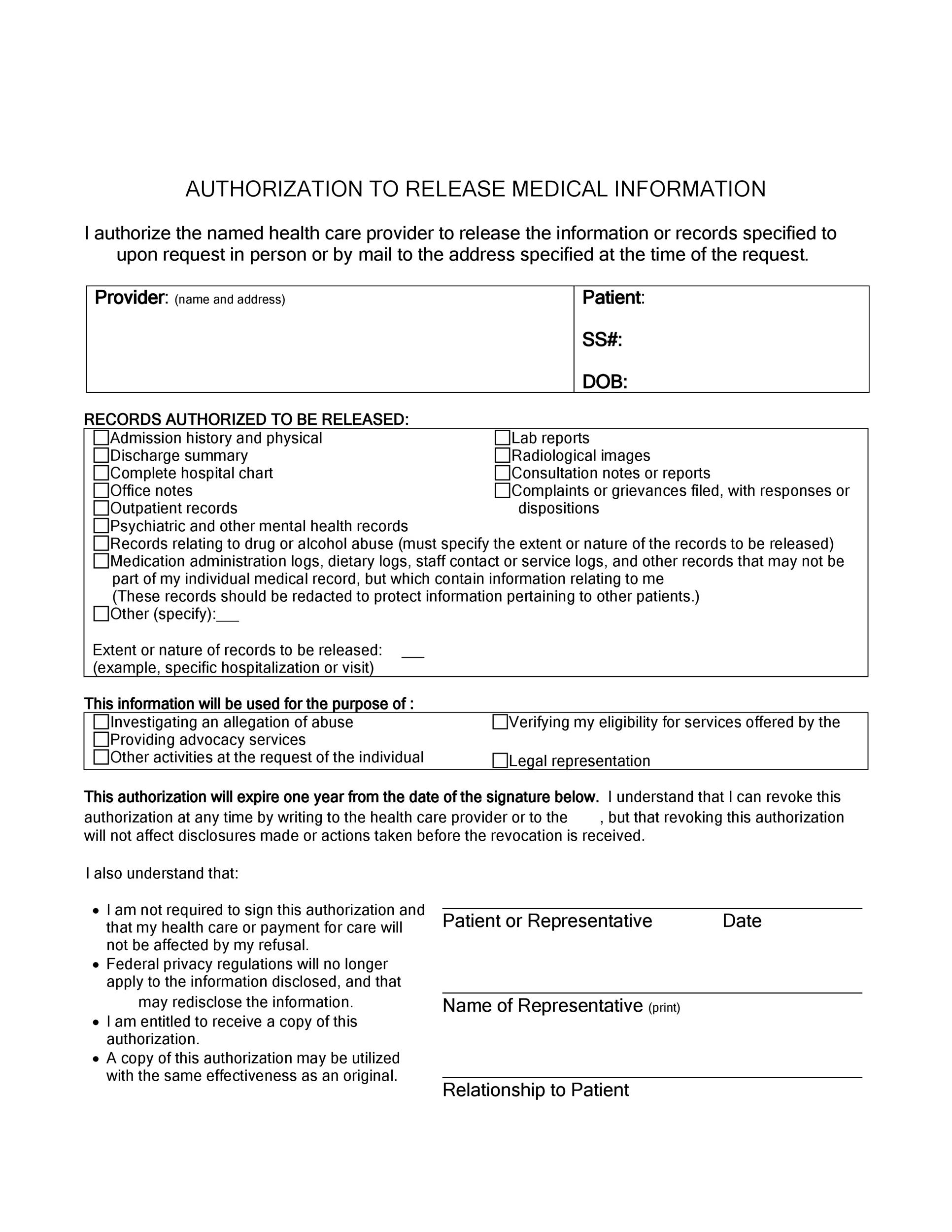 Sample Medical Release Form