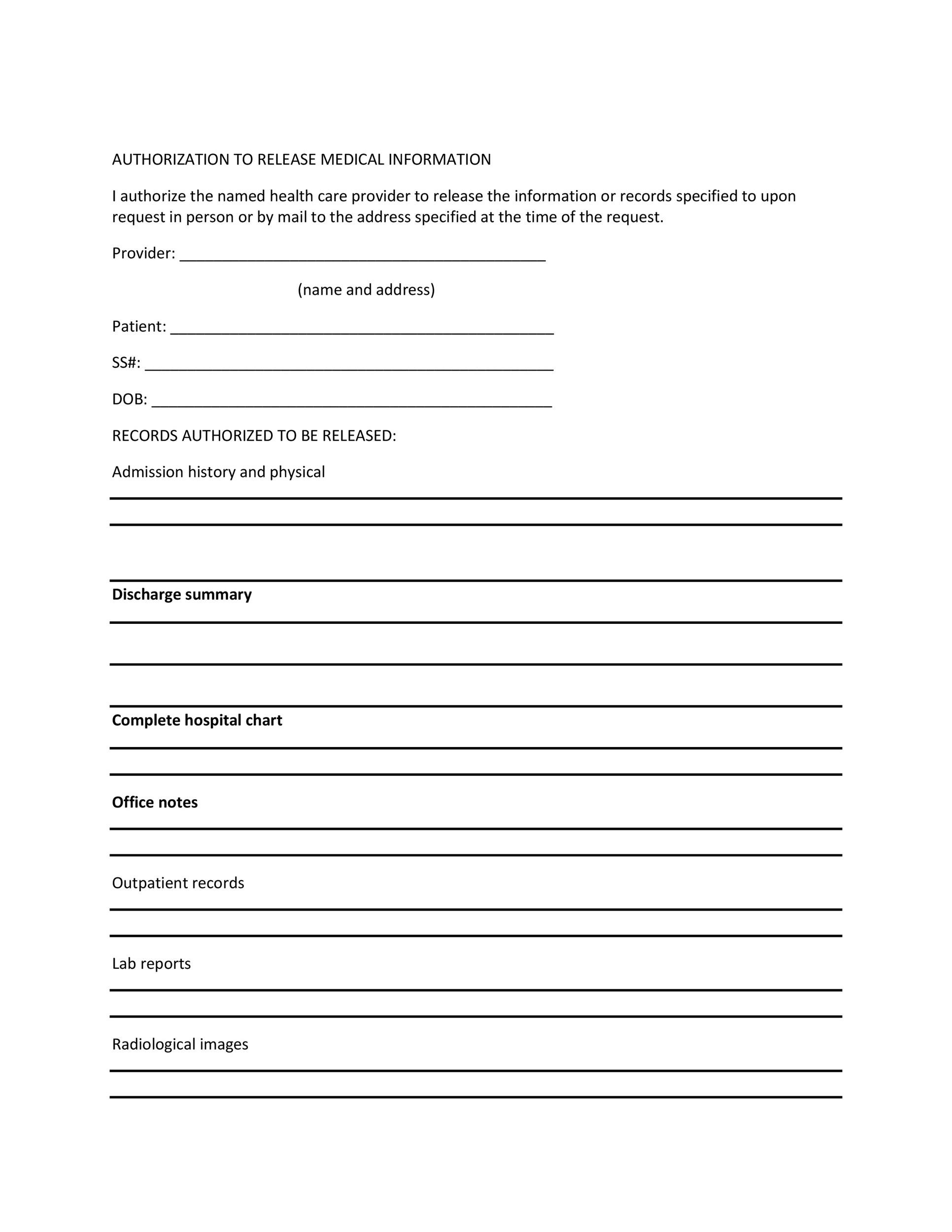 Medical Release Form Templates  Template Lab