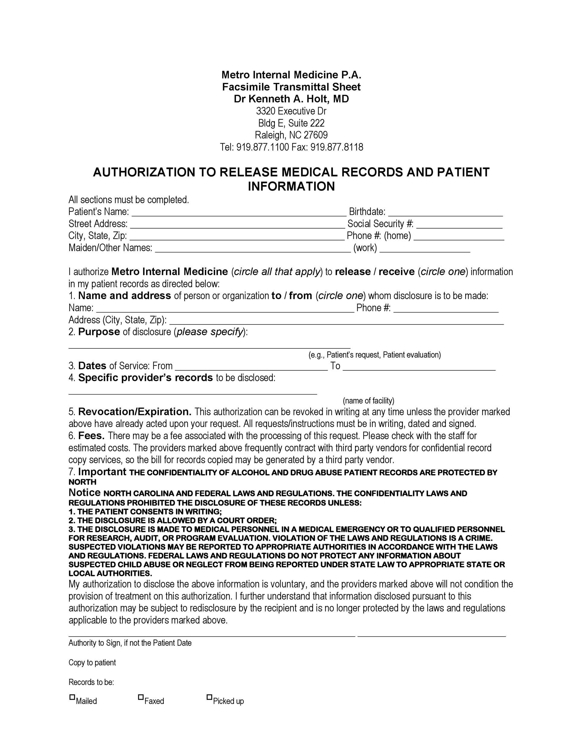 Free Medical Release Form 18