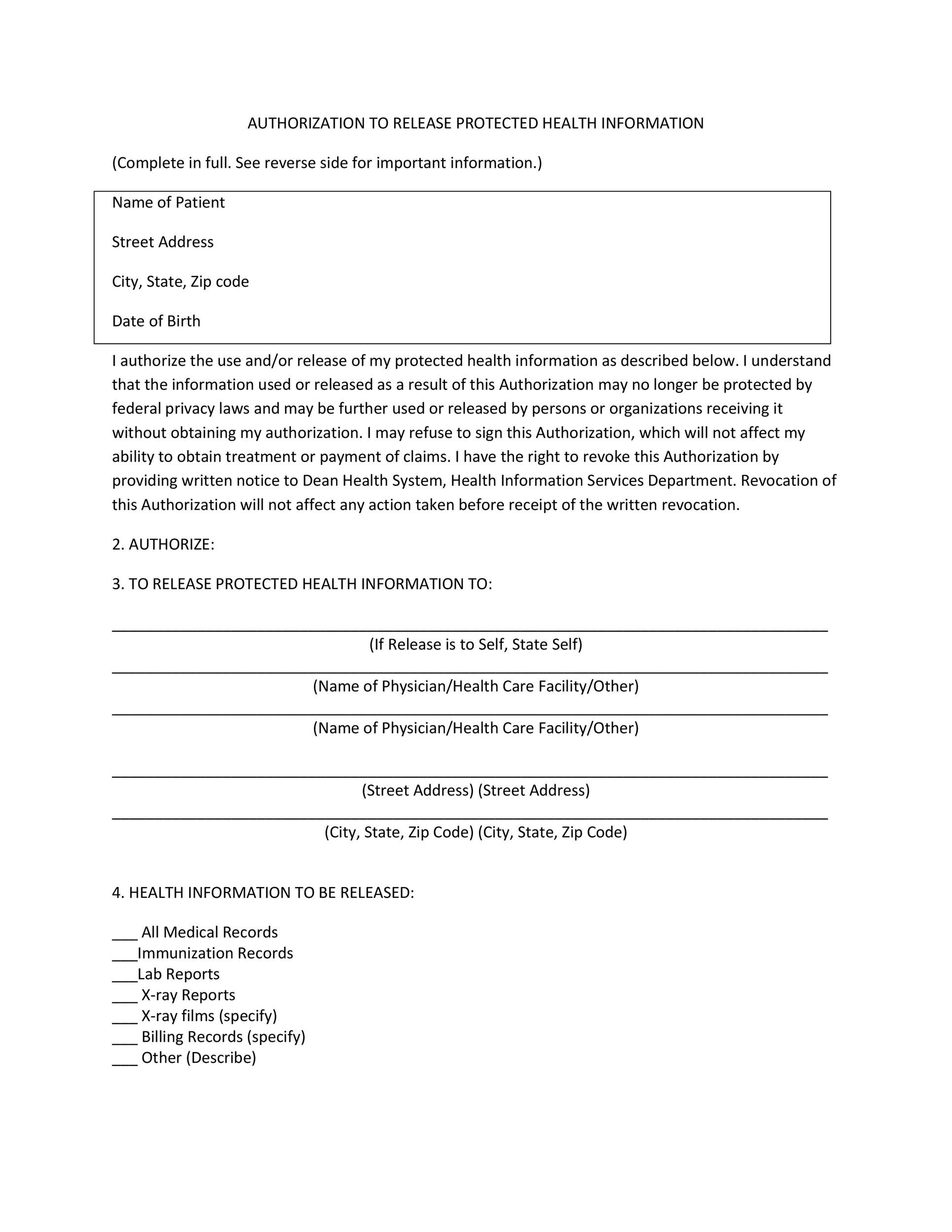 Free Medical Release Form 20