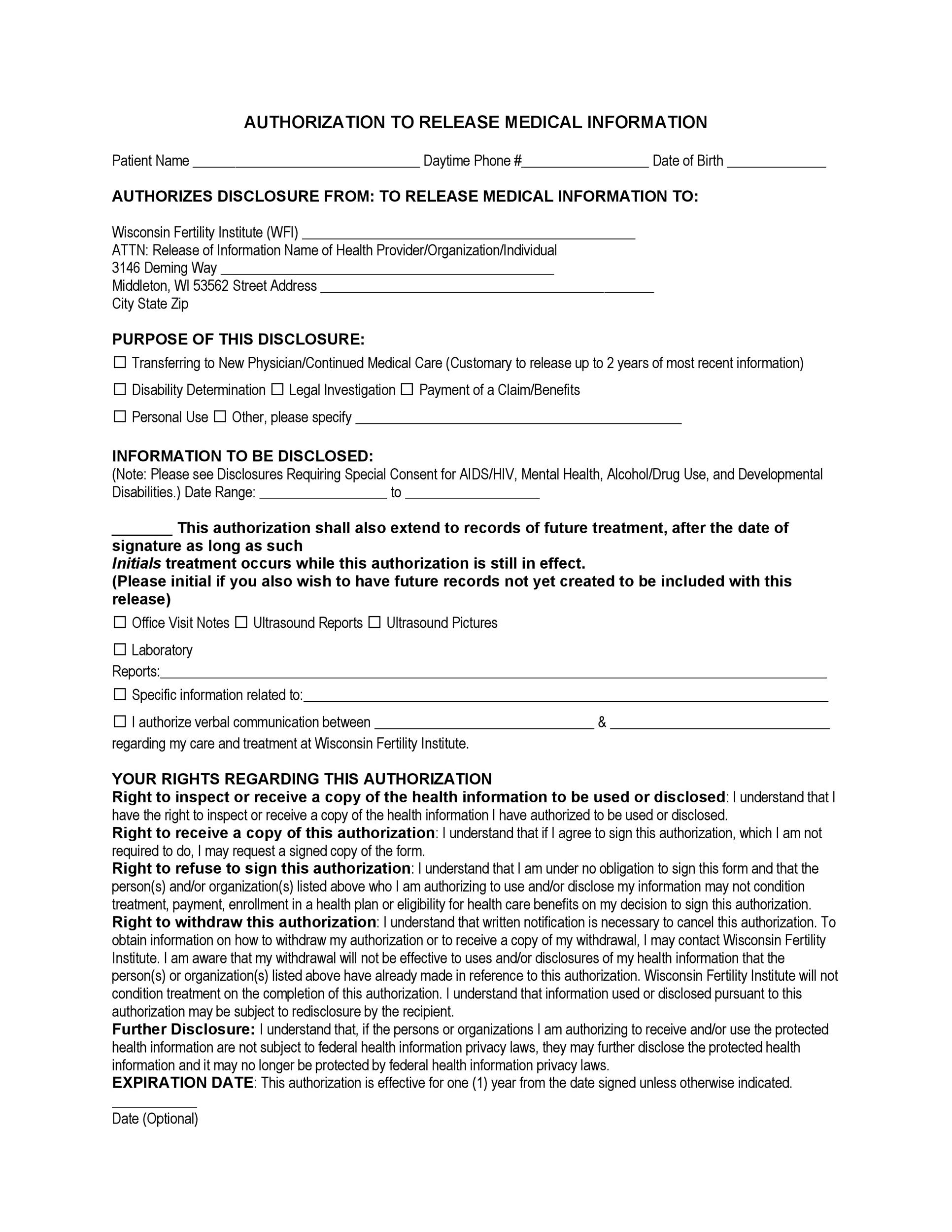 Free Medical Release Form 22