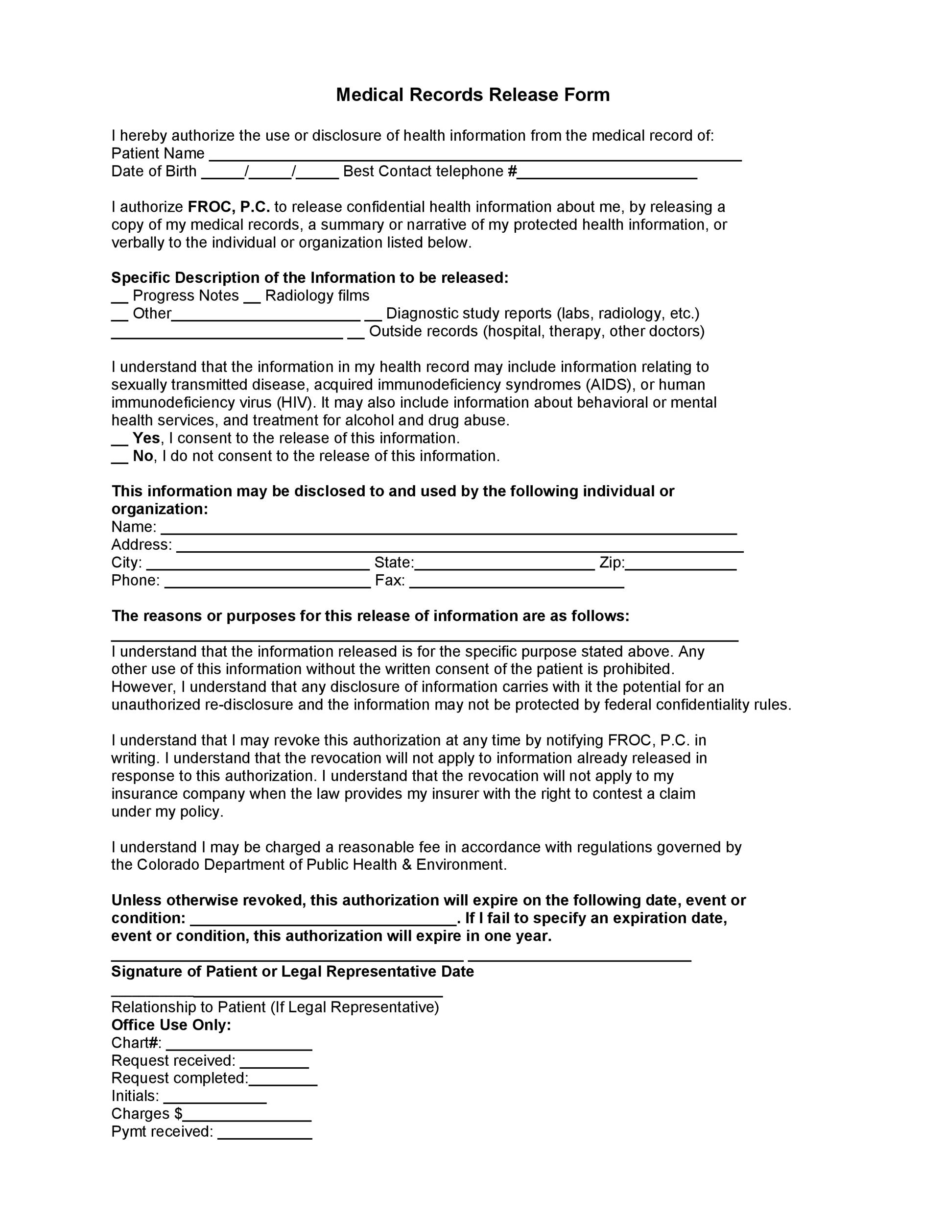 Free Medical Release Form 25