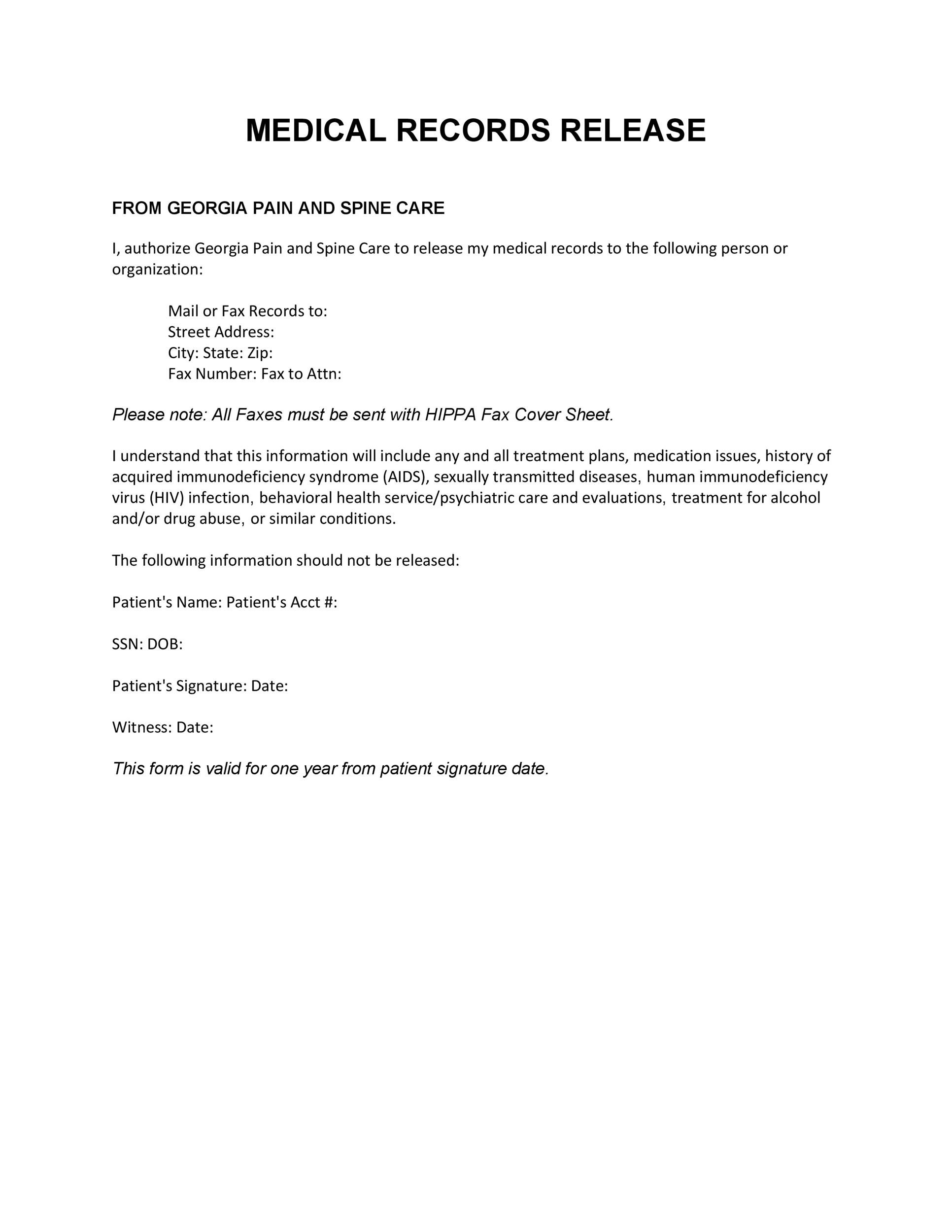 Free Medical Release Form 27