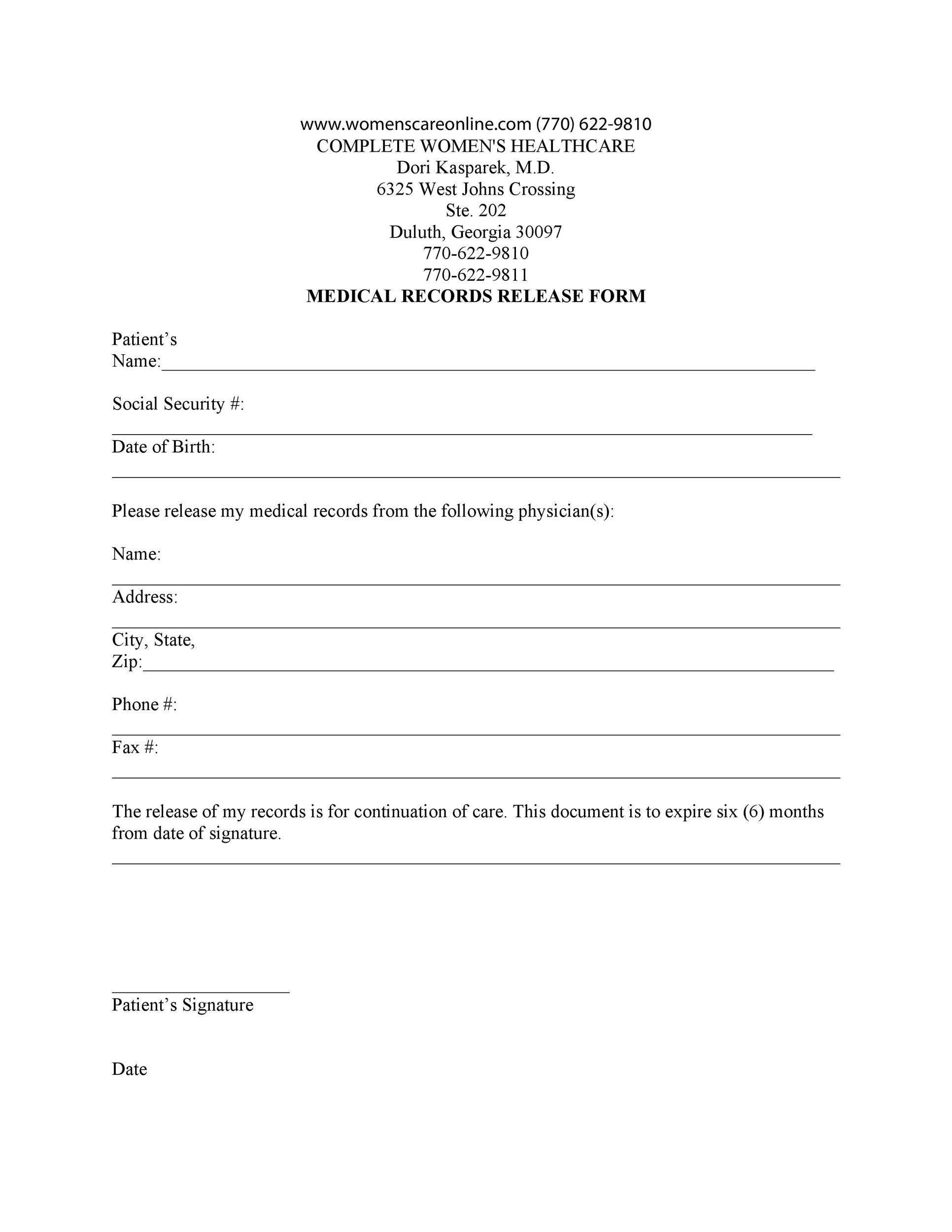 Free Medical Release Form 28