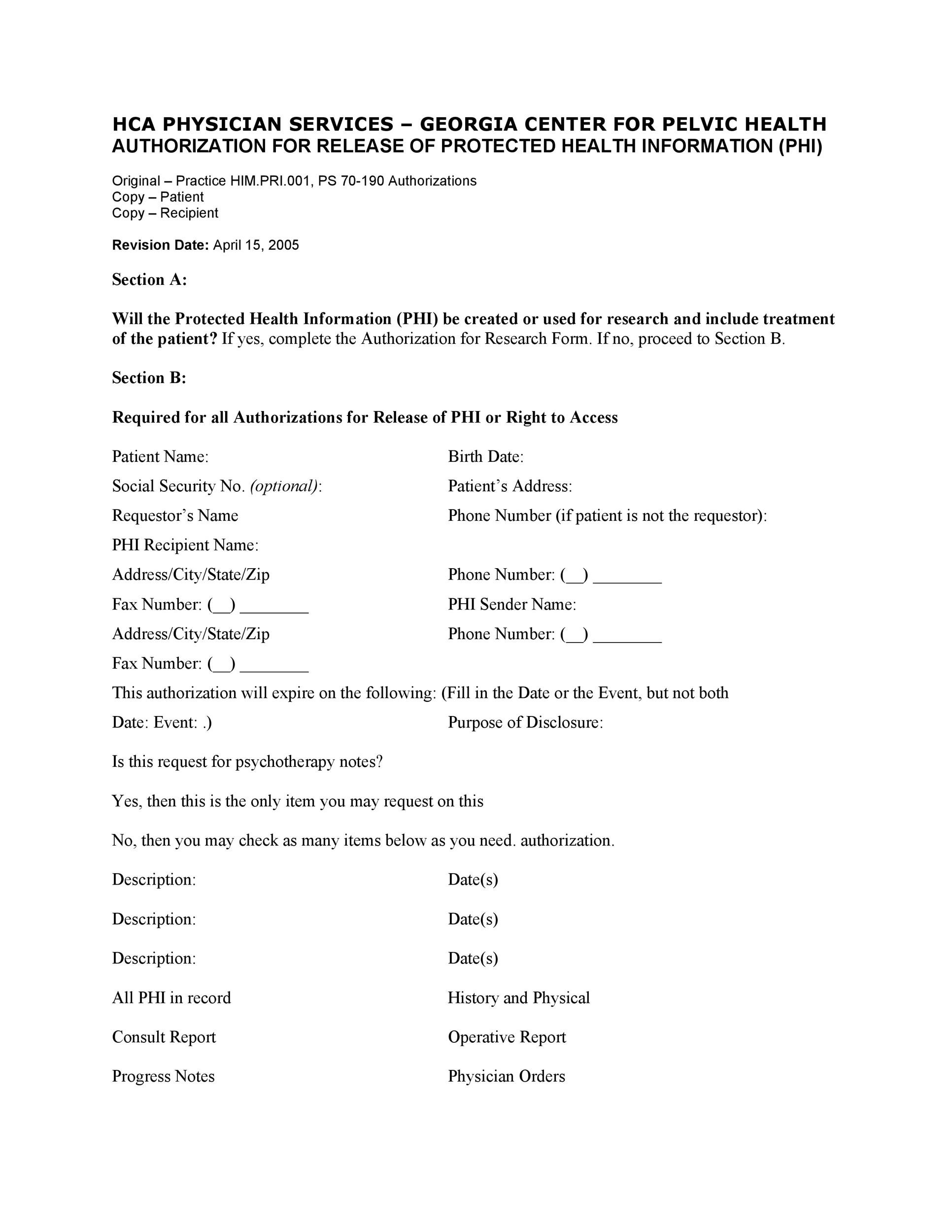 Free Medical Release Form 29