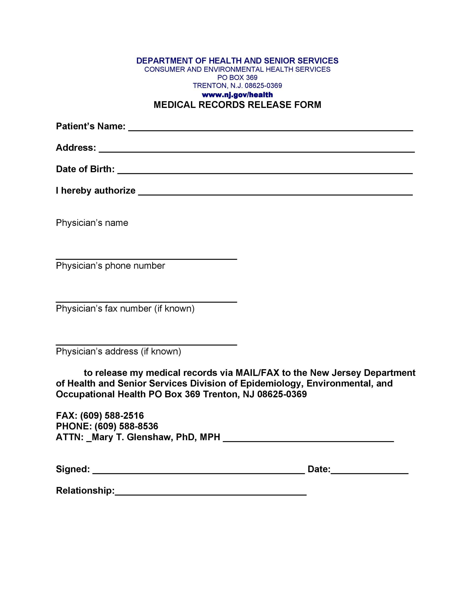 Great Printable Medical Release Form 31 To Medical Record Form Template
