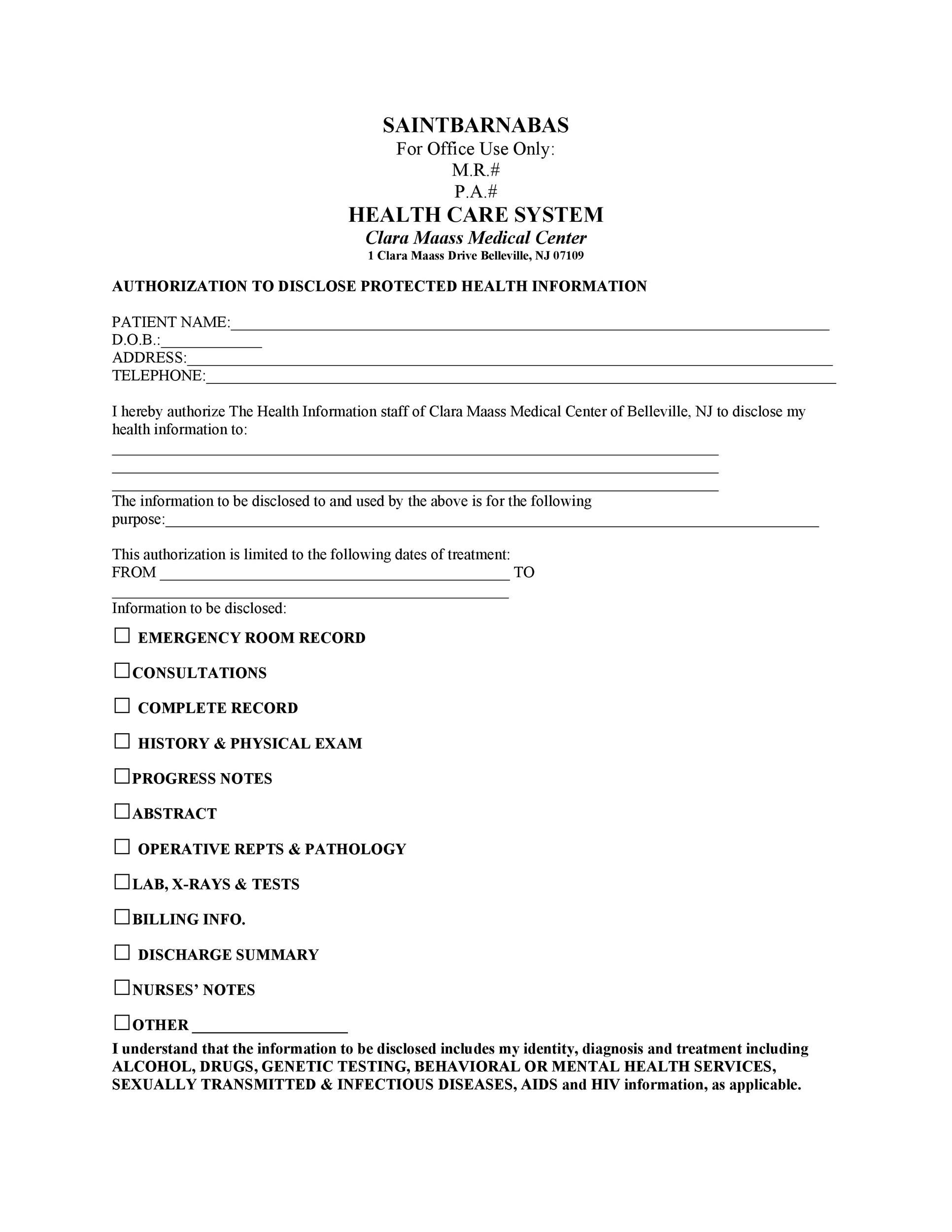Free Medical Release Form 32