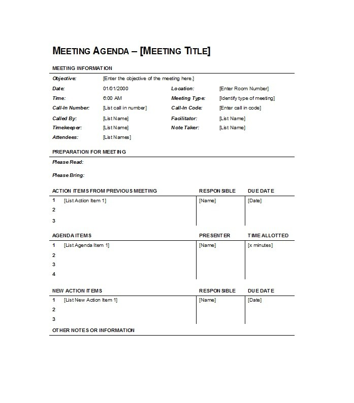 Meeting Agenda Format Business Meeting Agenda  Table Format