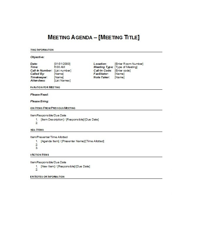 Meeting Agenda Format Template Free Meeting Agenda Templates – Agenda Format for Meetings
