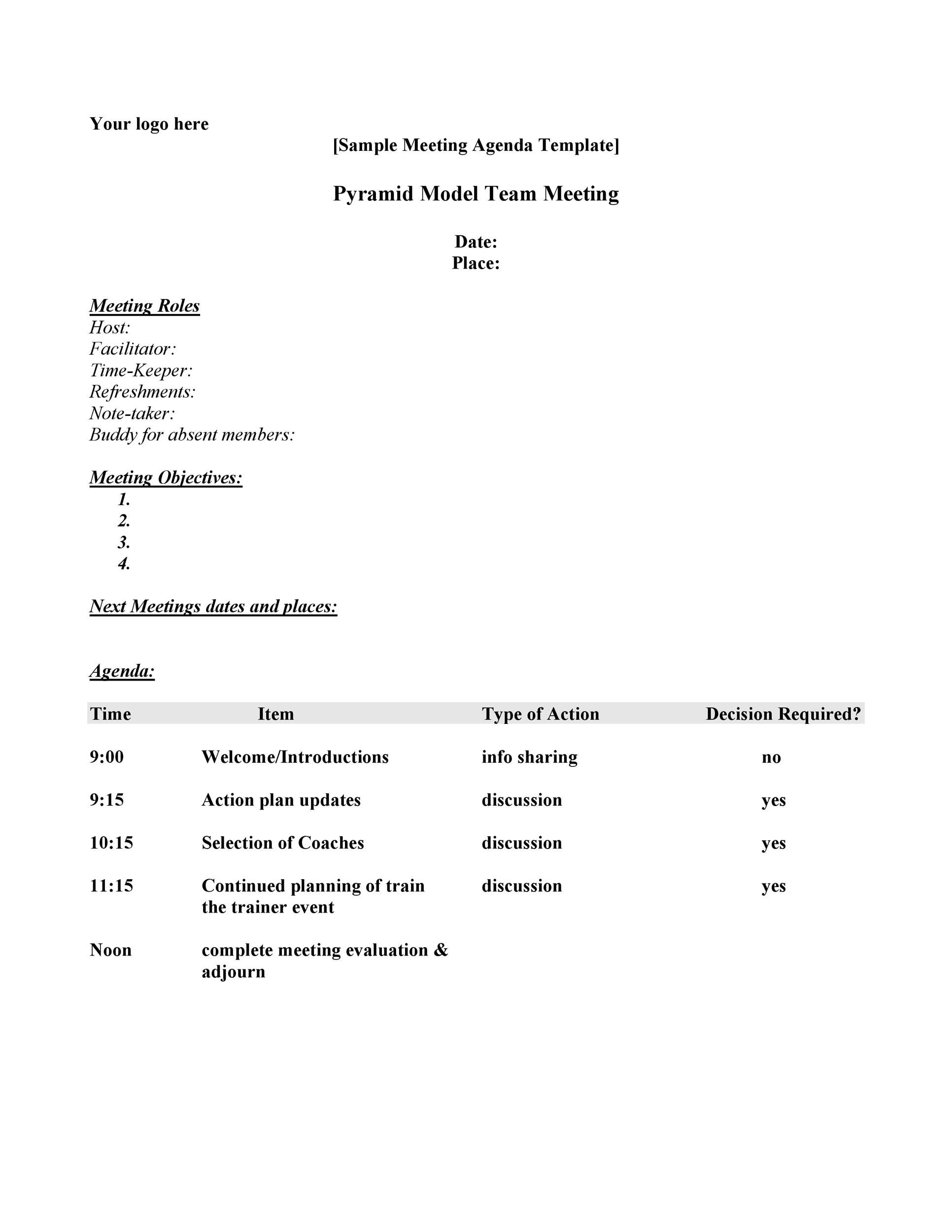 Free Meeting Agenda Template 03