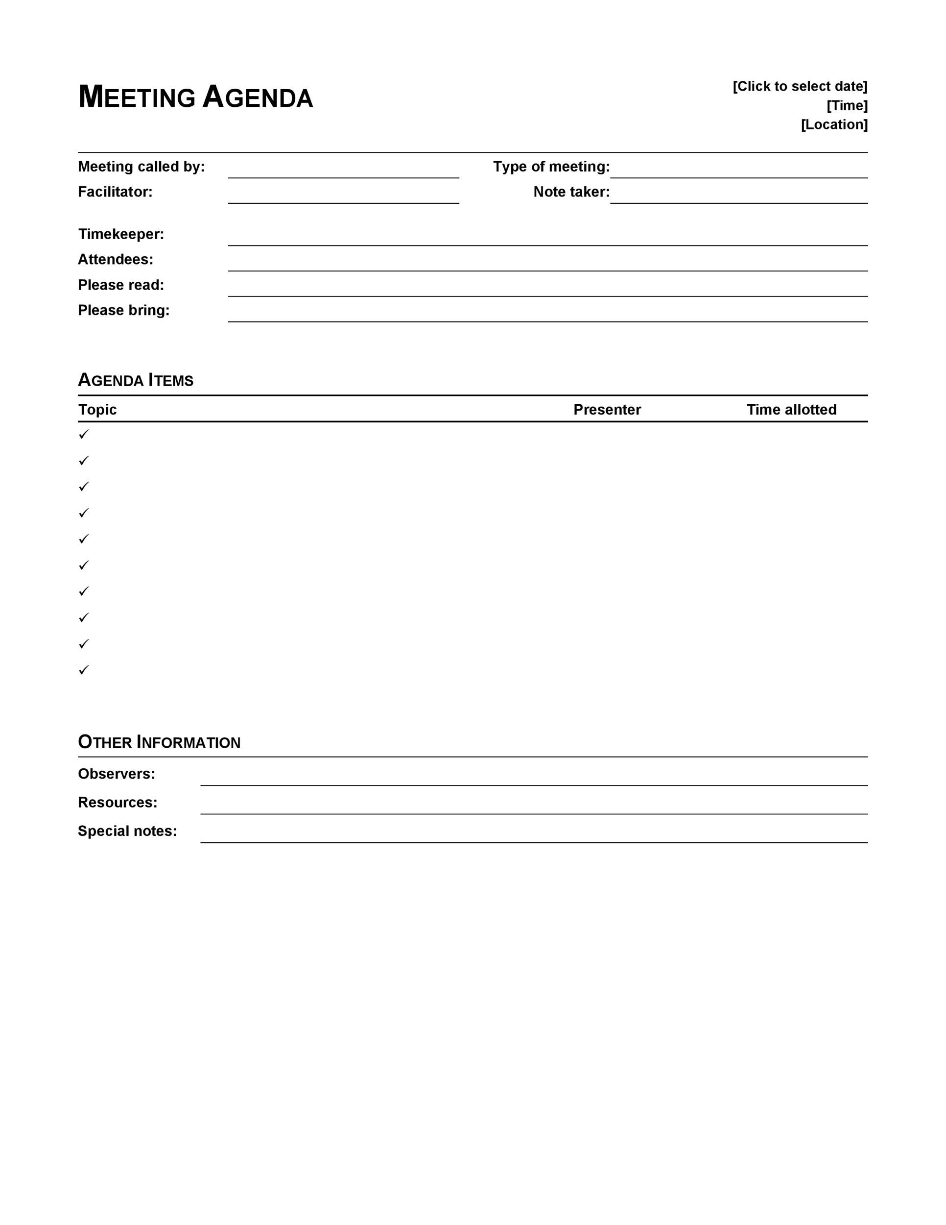 Free Meeting Agenda Template 04
