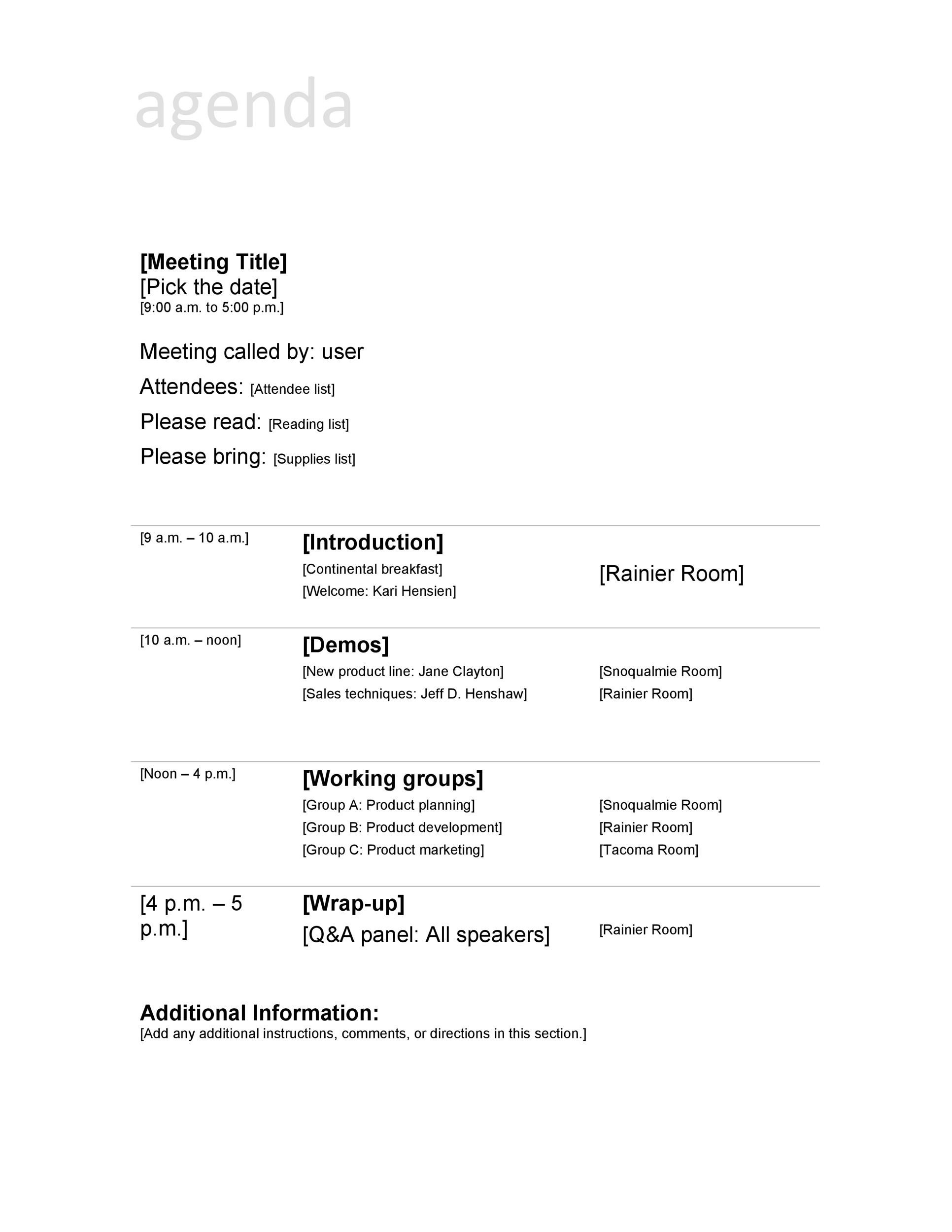 Printable Meeting Agenda Template 05  Meeting Outline Template