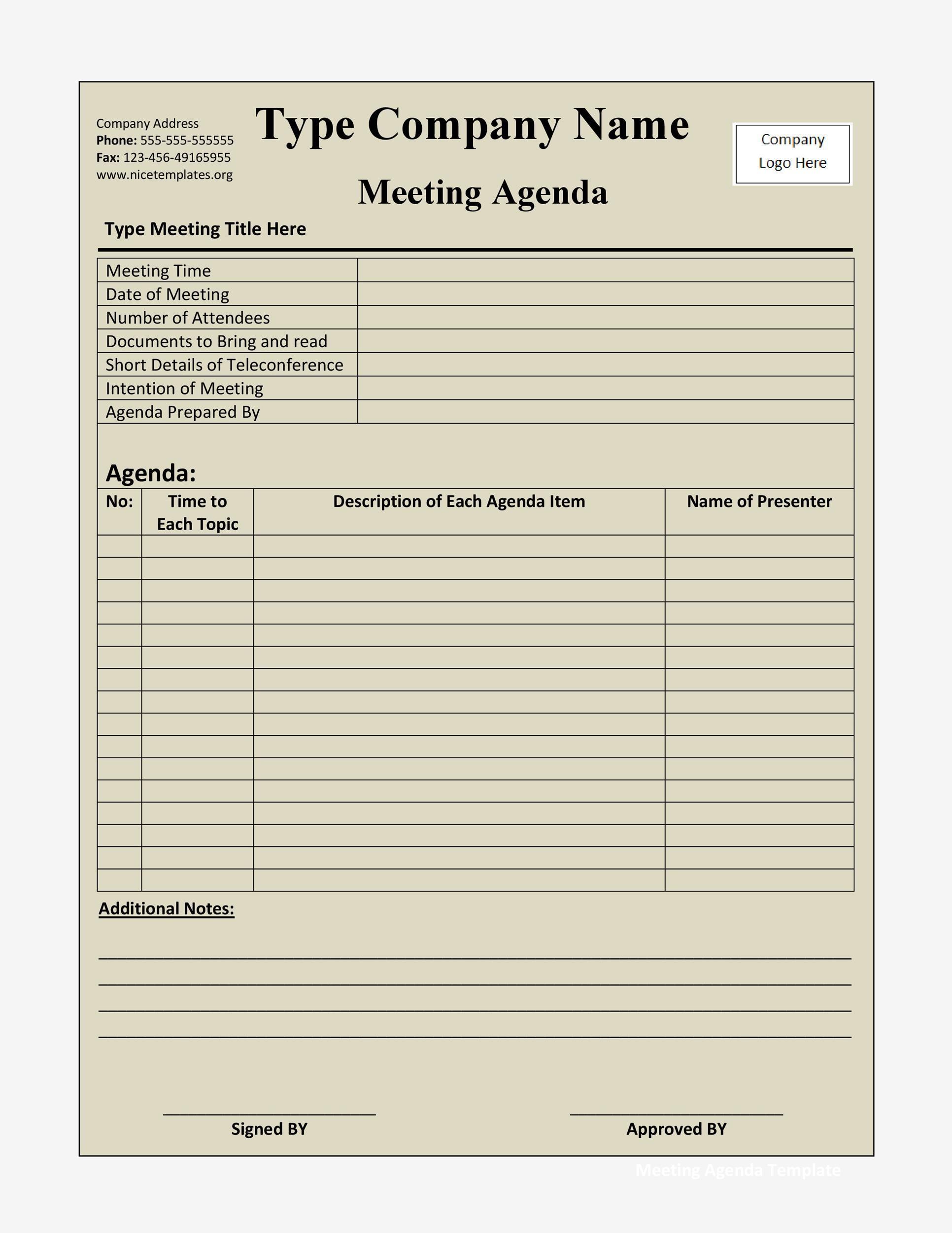 Free Meeting Agenda Template 06